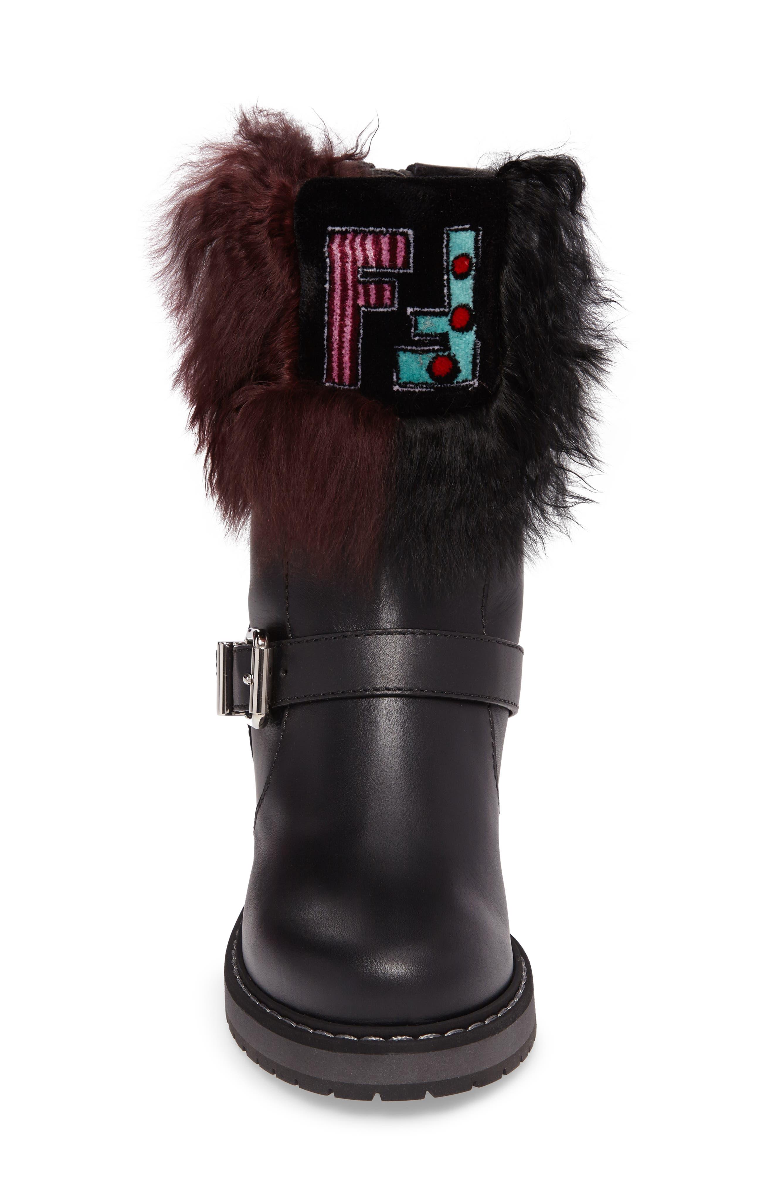 Caroline Genuine Alpaca Fur & Genuine Shearling Engineer Boot,                             Alternate thumbnail 5, color,                             Black/ Bordeaux
