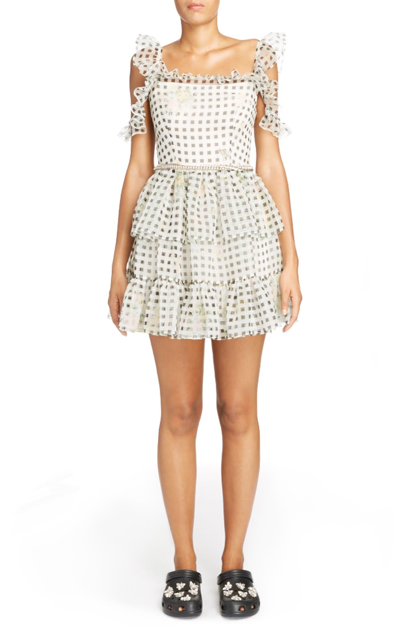 Check Print Off the Shoulder Silk Mini Dress,                         Main,                         color, Black/ White