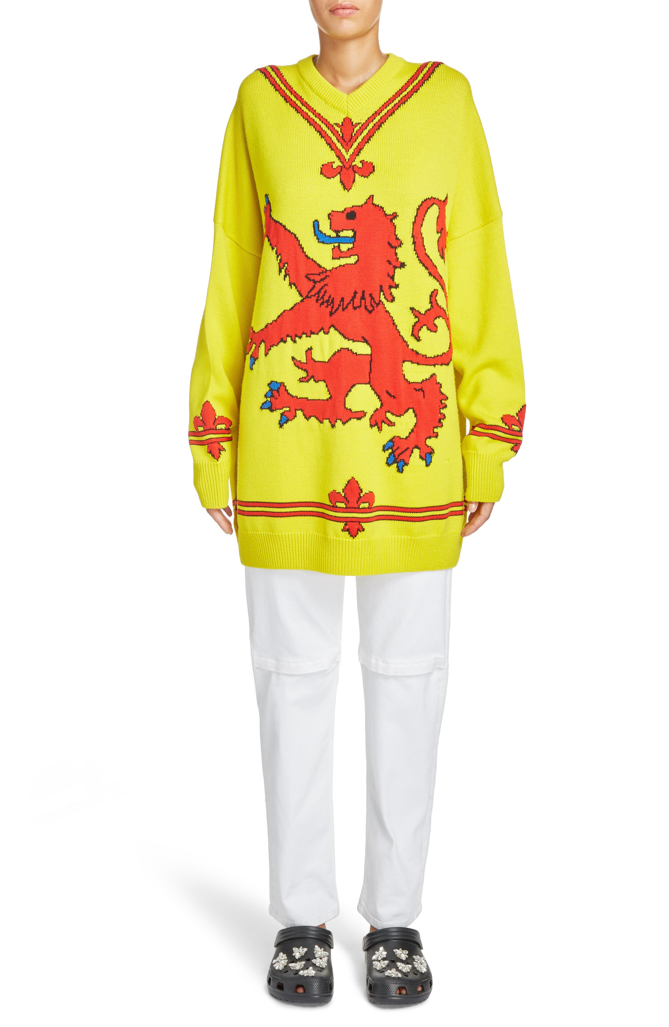 Lion Sweater,                             Alternate thumbnail 6, color,                             Yellow