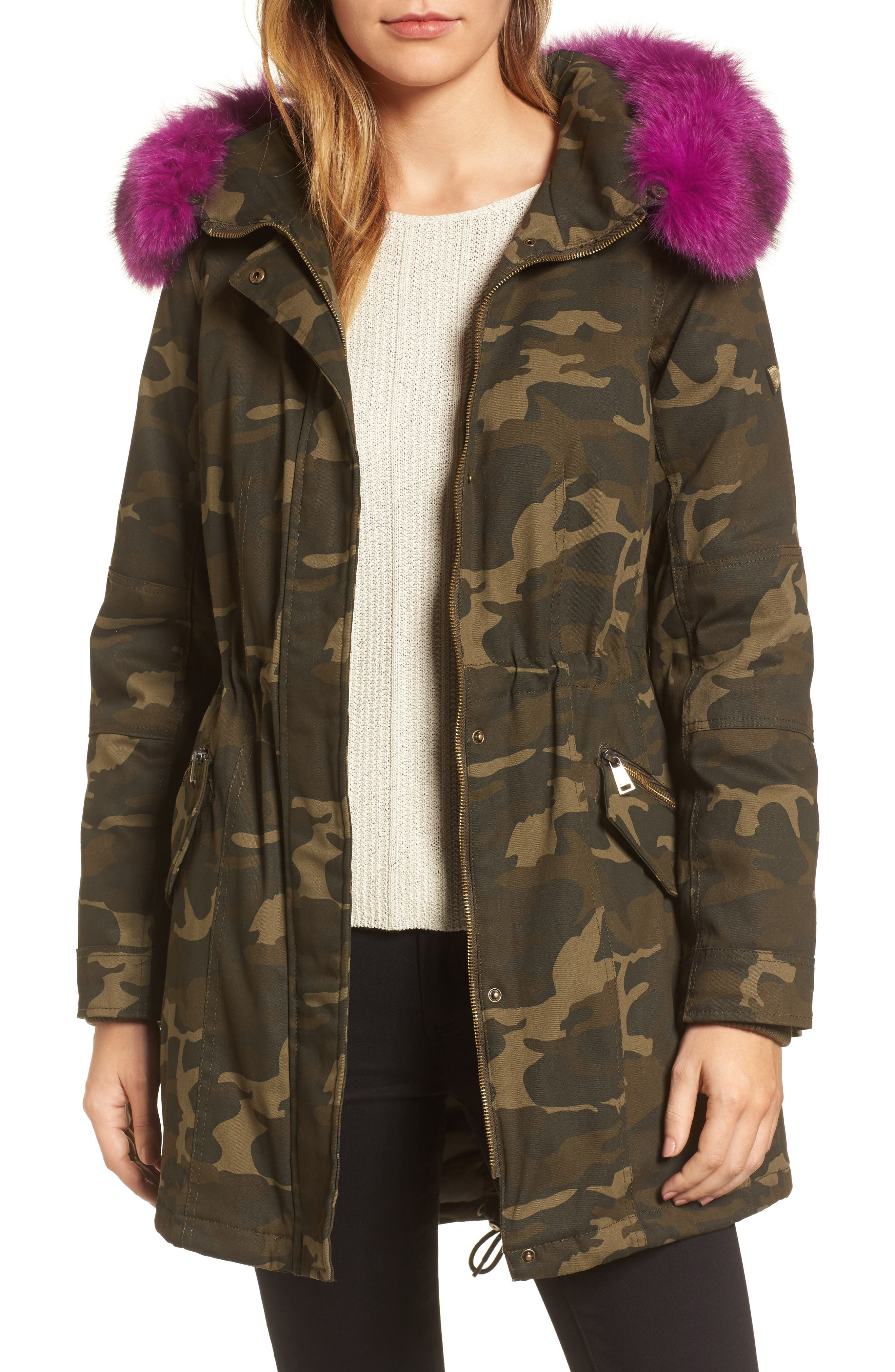 1 Madison Pop Genuine Fox Fur Trim Camo Anorak