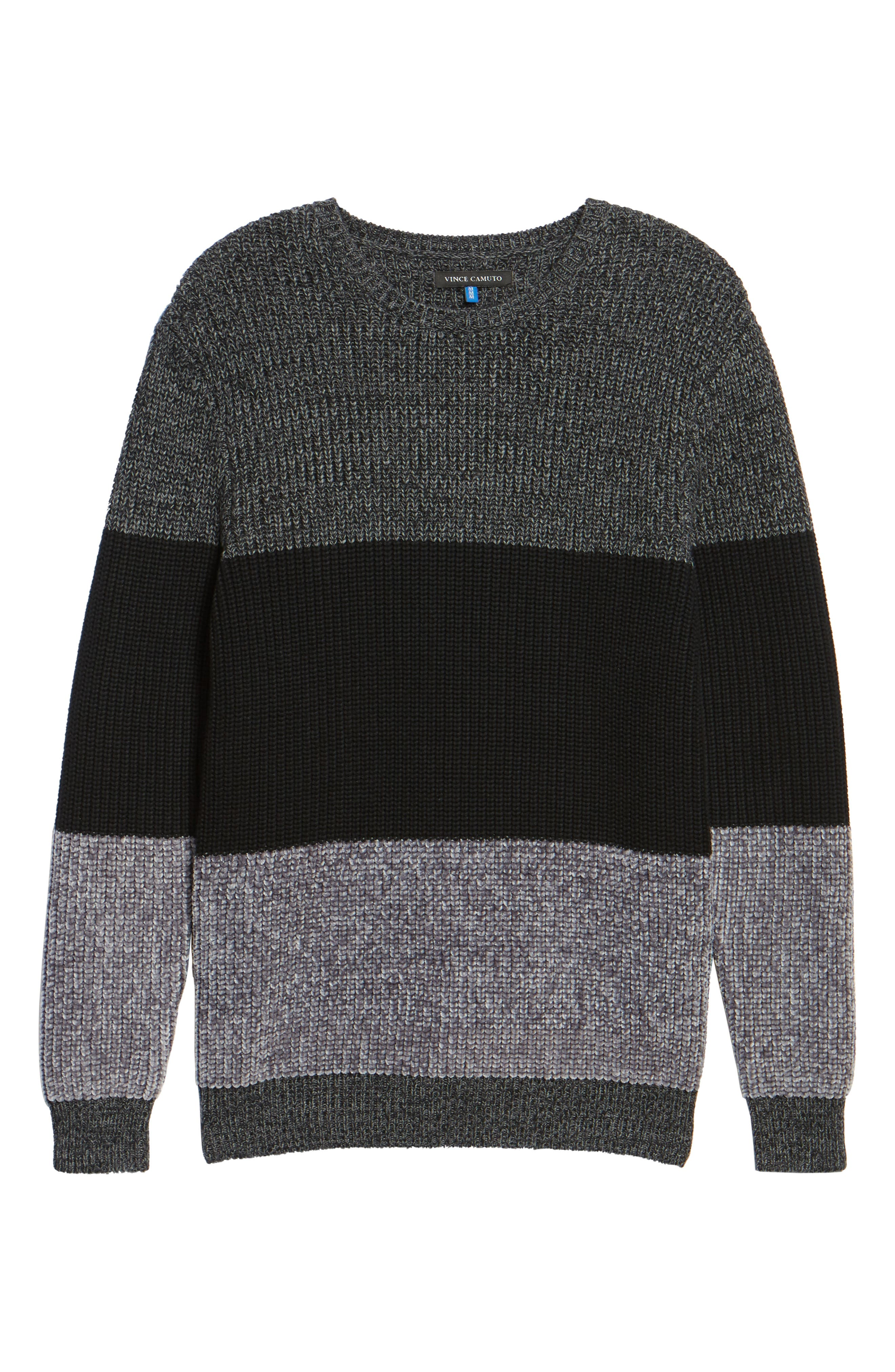 Colorblock Chenille Sweater,                             Alternate thumbnail 6, color,                             Heather Navy
