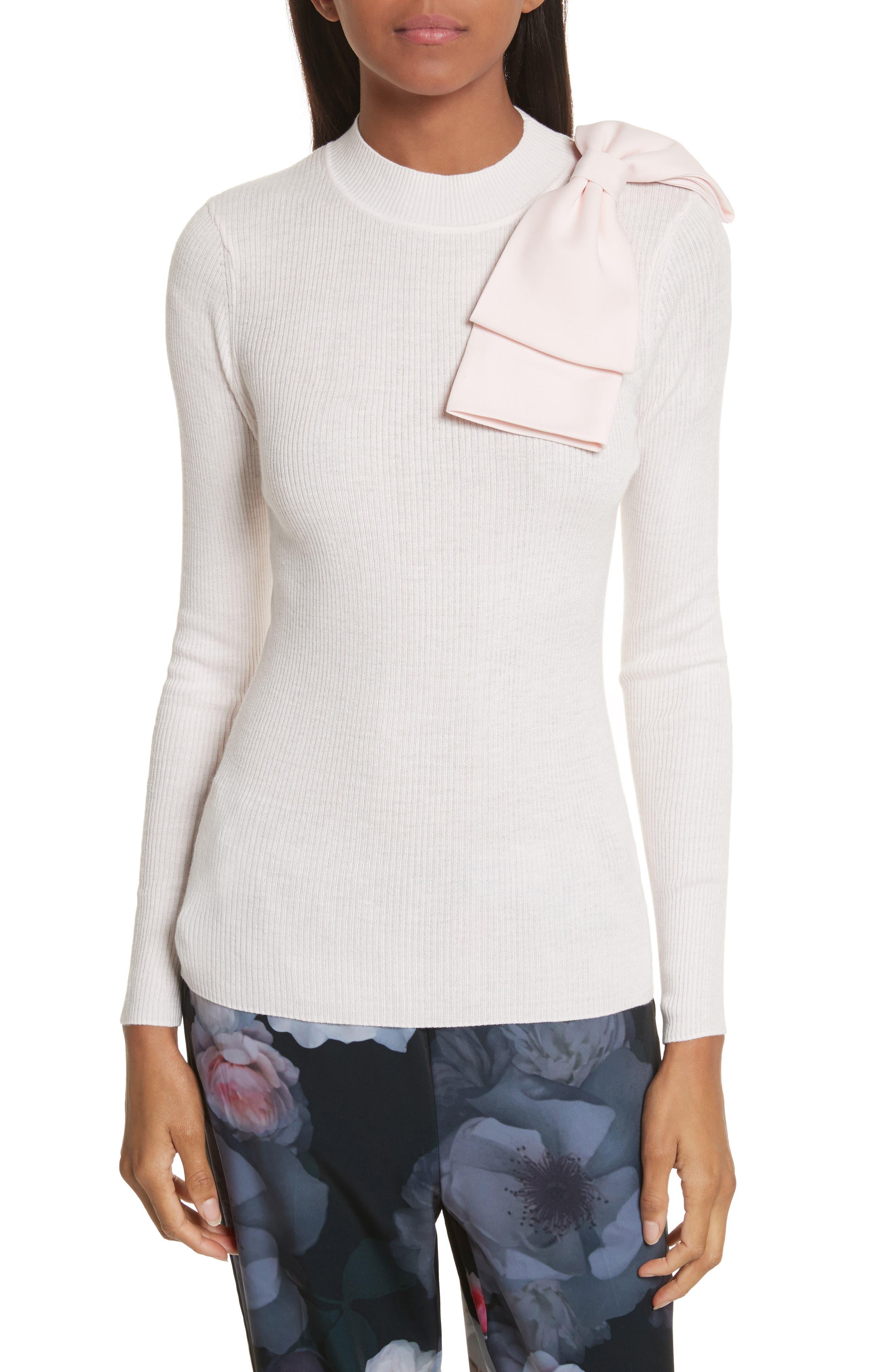 Nehru Bow Skinny Rib Knit Sweater,                         Main,                         color, Shell