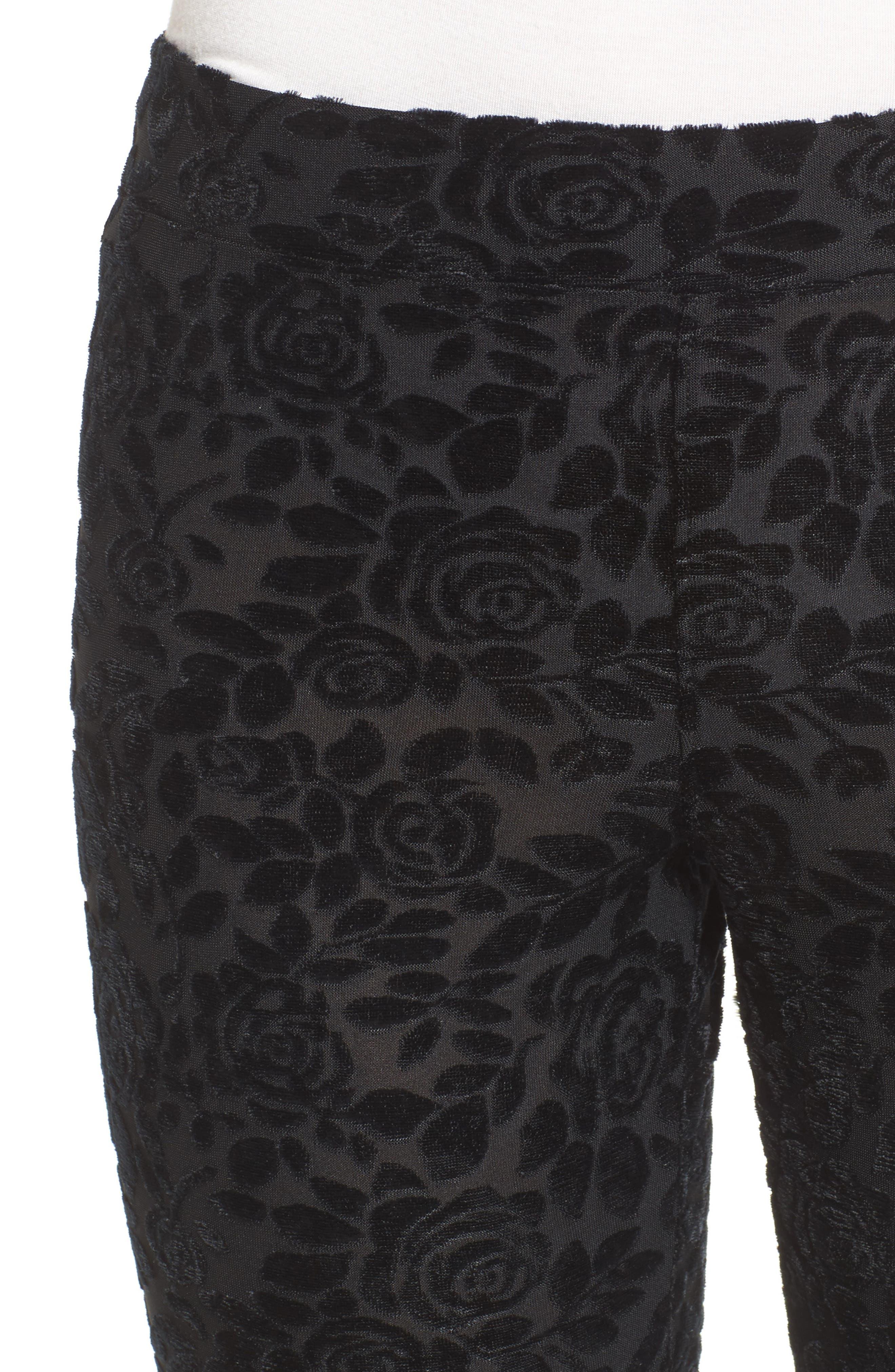 Burnout Floral Leggings,                             Alternate thumbnail 5, color,                             Black