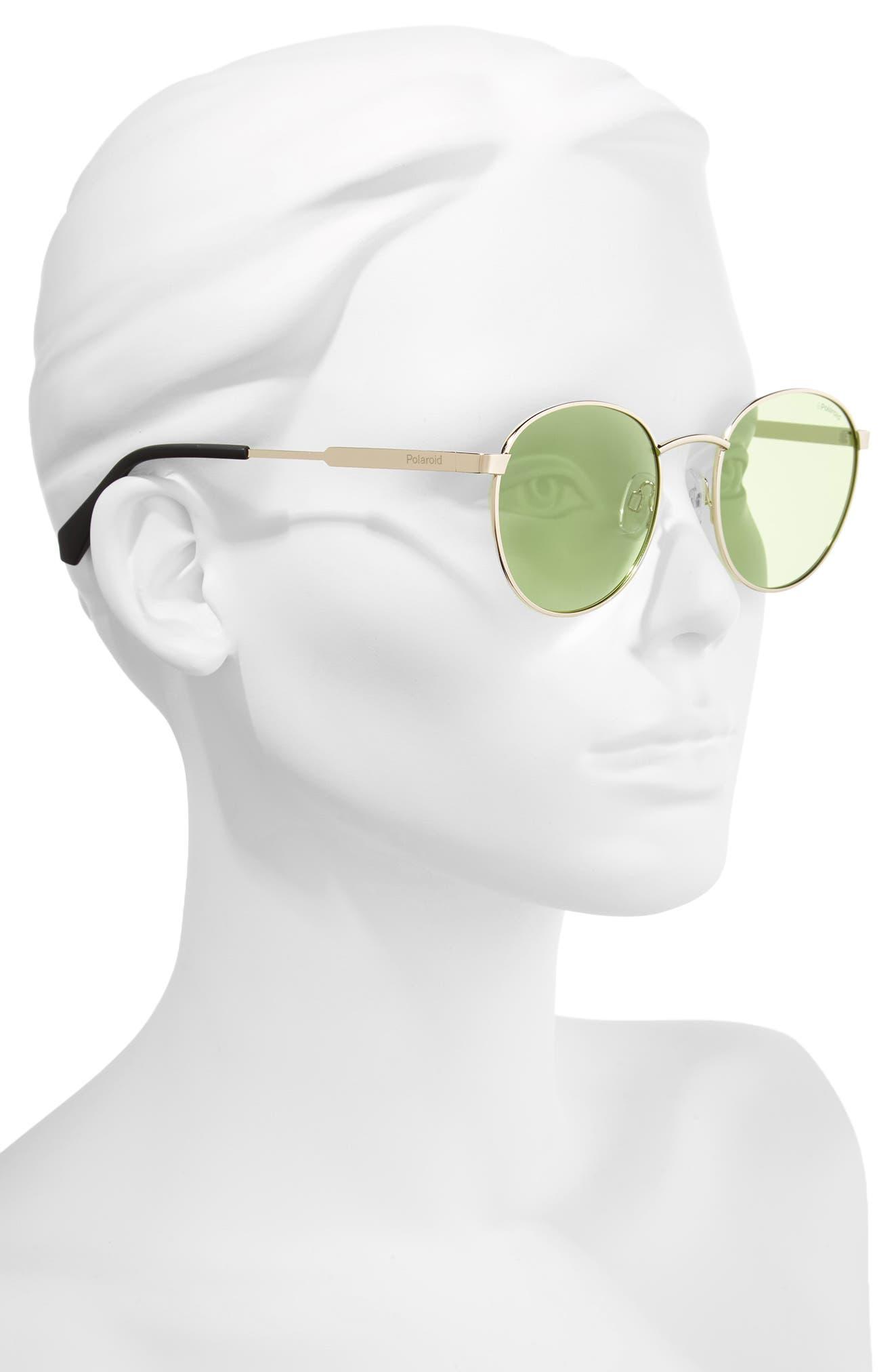 51mm Round Retro Polarized Sunglasses,                             Alternate thumbnail 2, color,                             Green