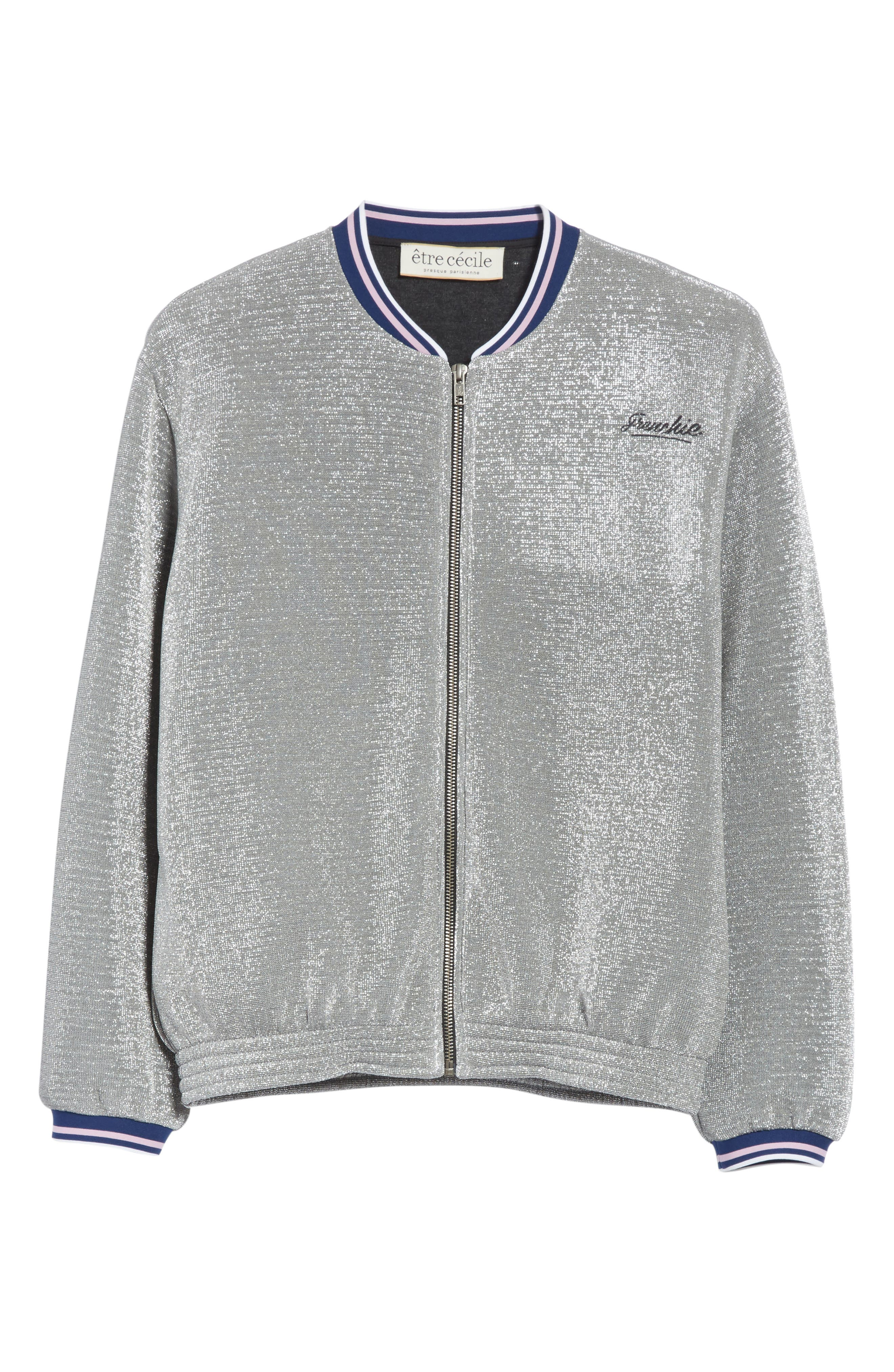 être cécile Frenchie Glitter Varsity Bomber Jacket,                             Alternate thumbnail 6, color,                             Silver