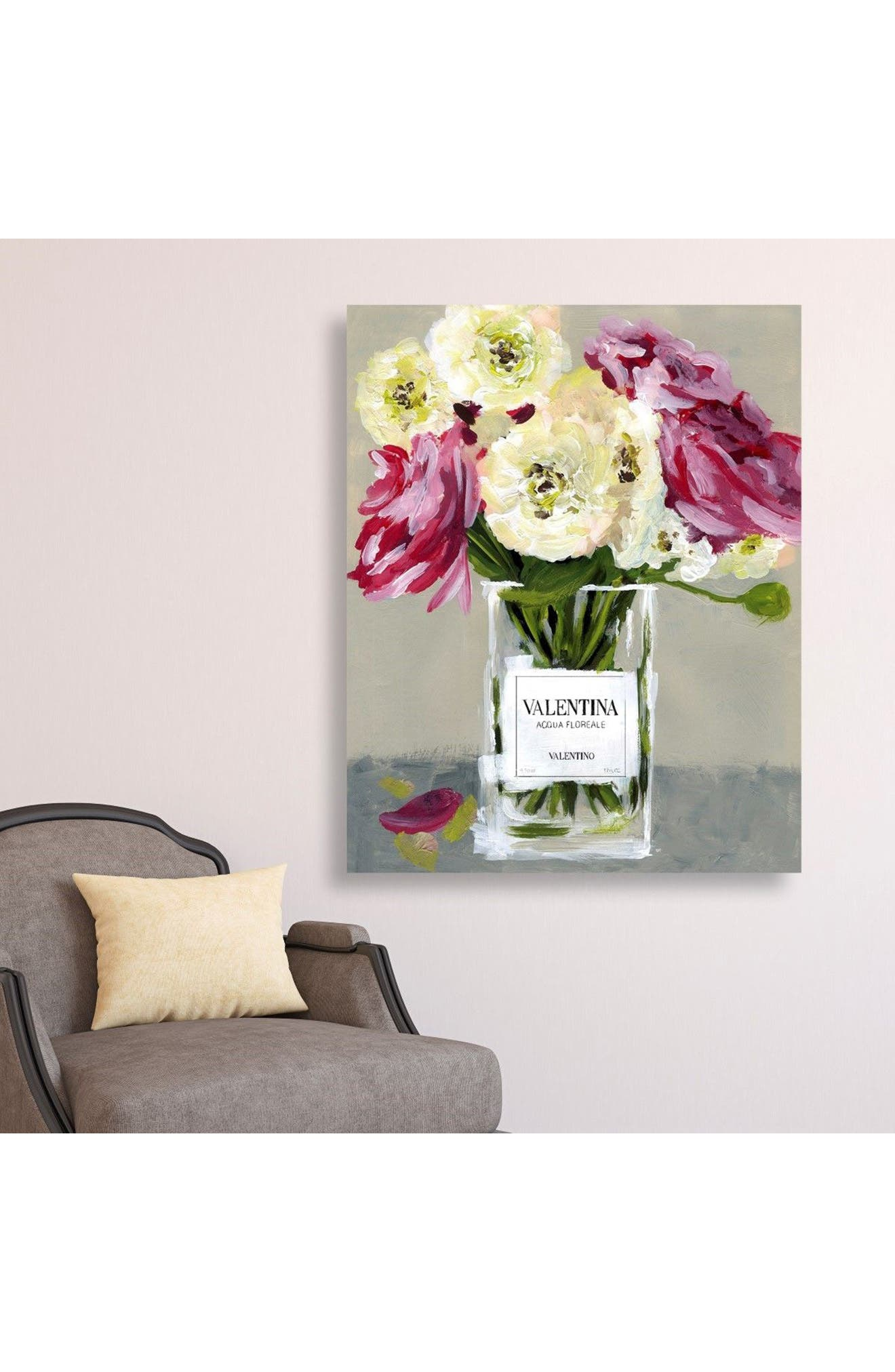 Acqua Florale Canvas Wall Art,                             Alternate thumbnail 2, color,                             Grey