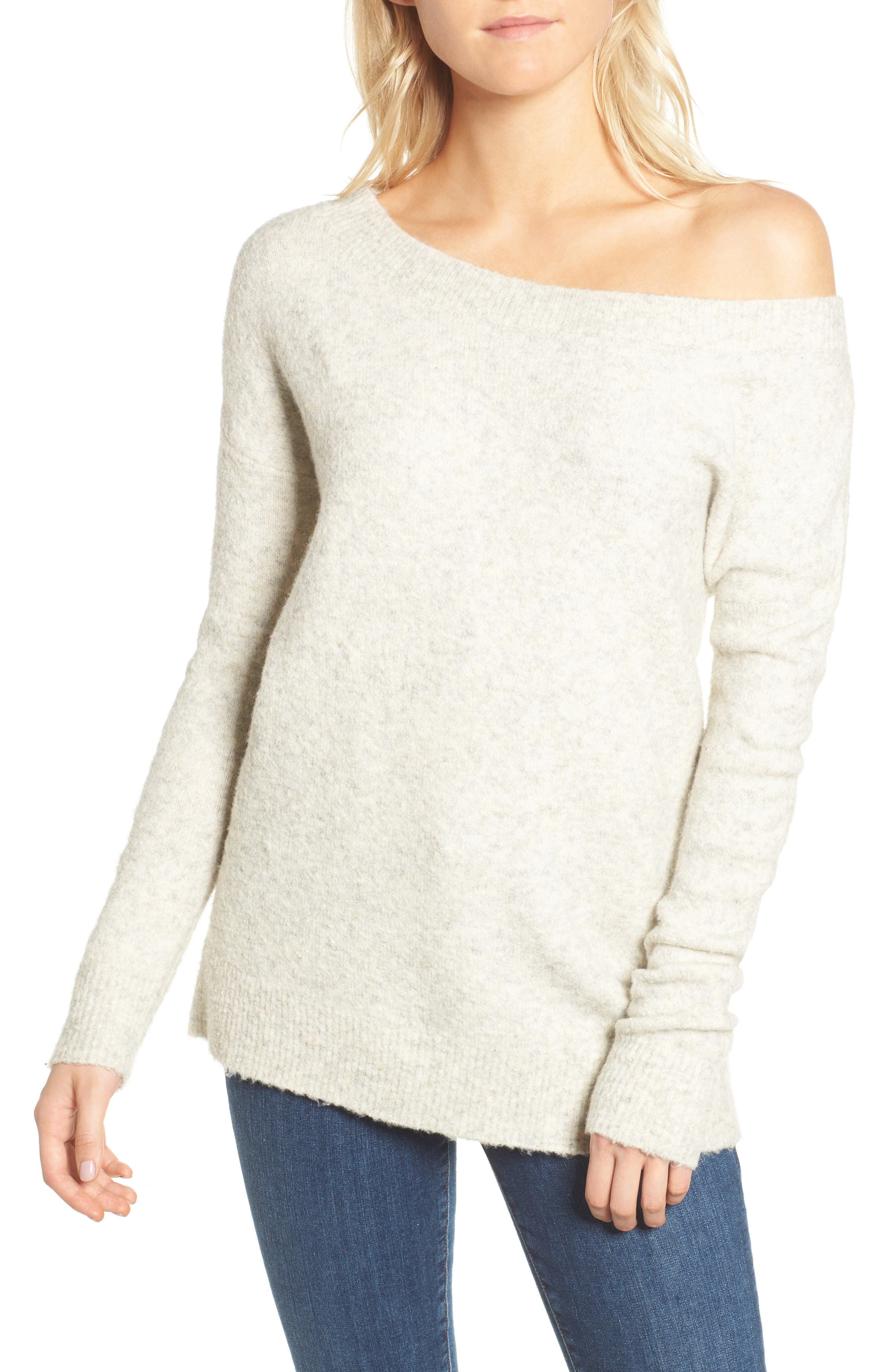 Urban Flossy One-Shoulder Sweater,                         Main,                         color, Light Oatmeal