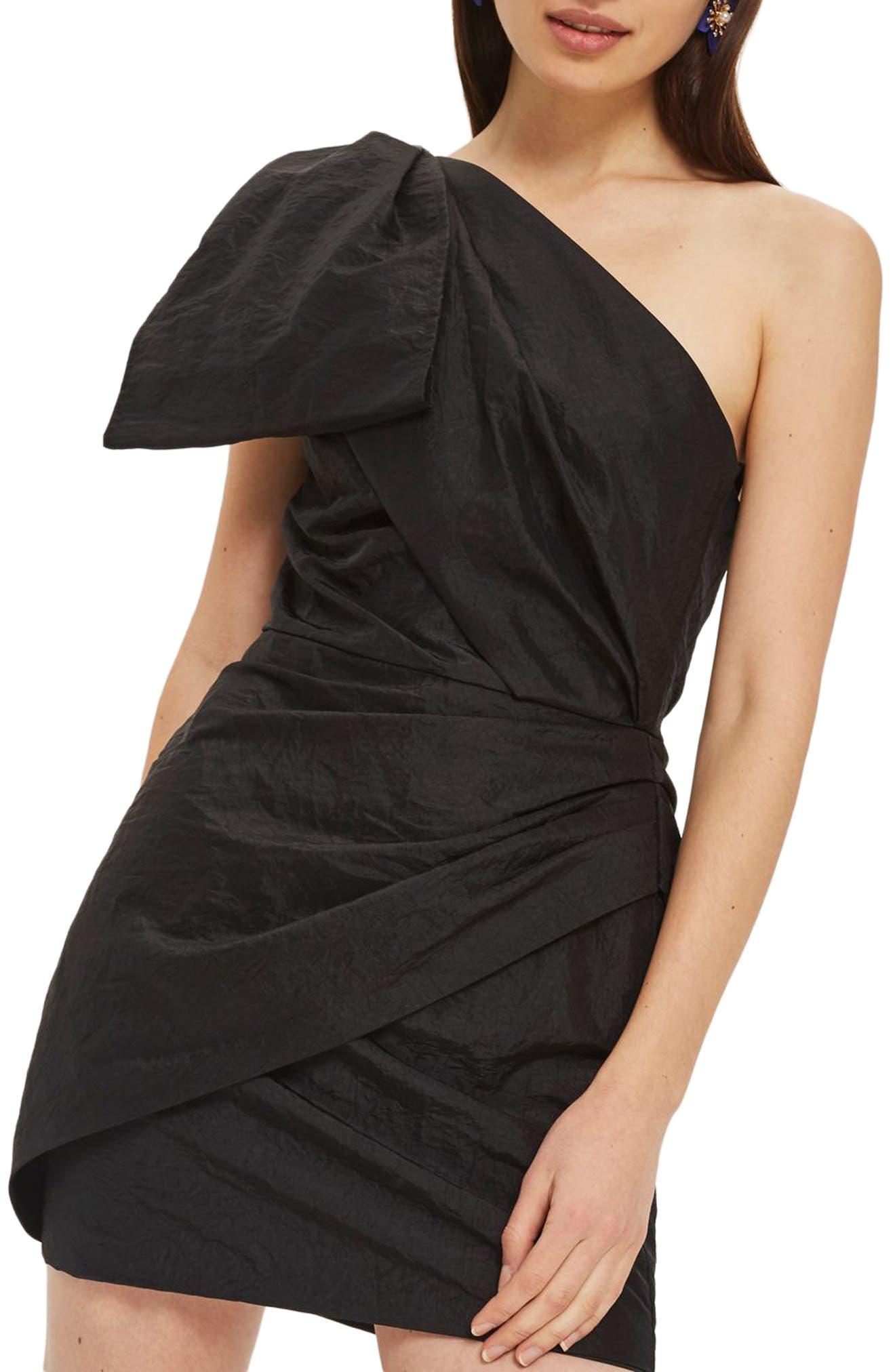 Topshop Taffeta Bow One-Shoulder Dress