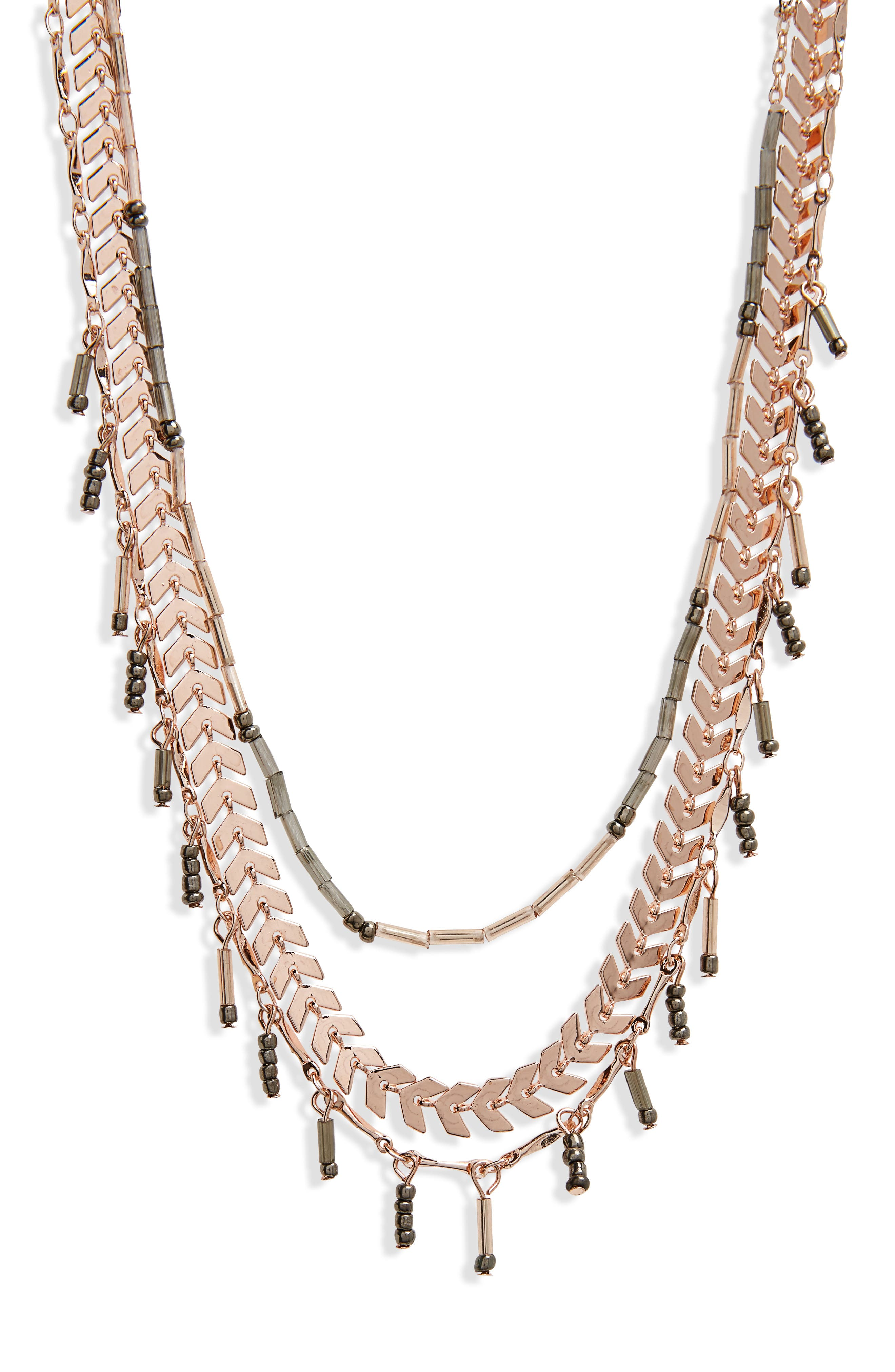 Multistrand Layered Necklace,                             Alternate thumbnail 2, color,                             Rose Gold