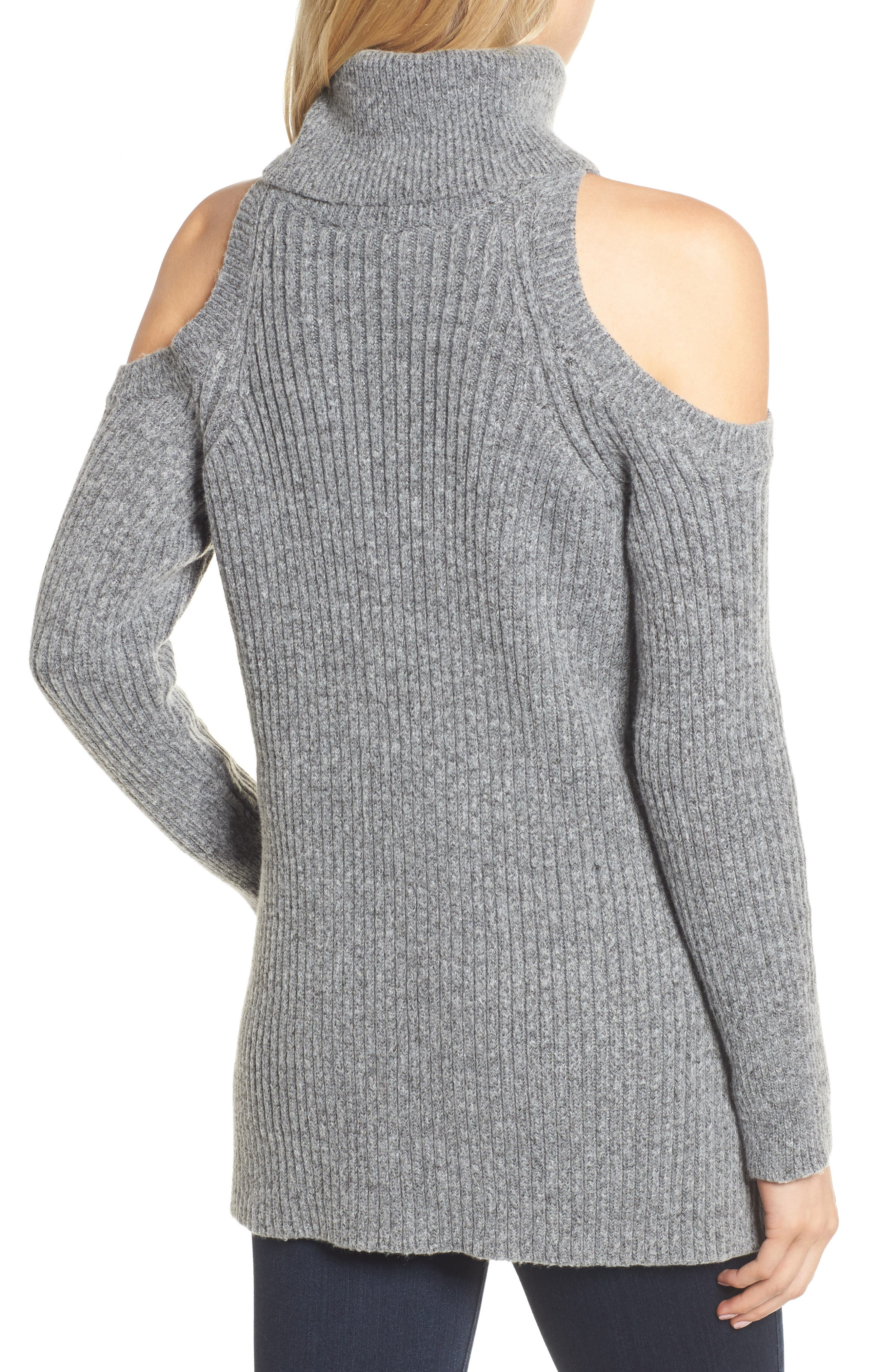 Rodell Cold Shoulder Sweater,                             Alternate thumbnail 2, color,                             Medium Heather Grey