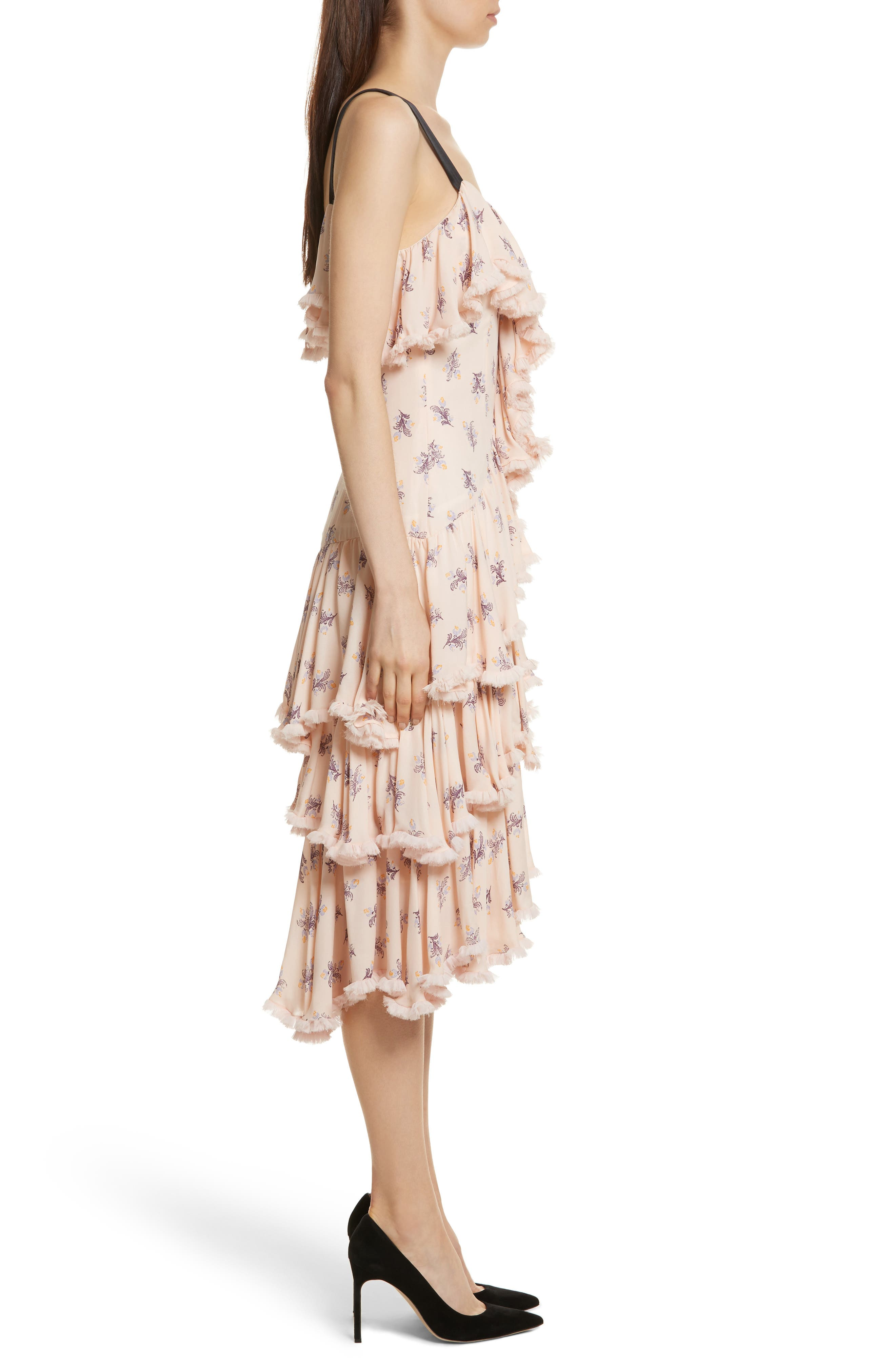 Edie Floral Print Tiered Silk Dress,                             Alternate thumbnail 3, color,                             Pearl Blush Multi