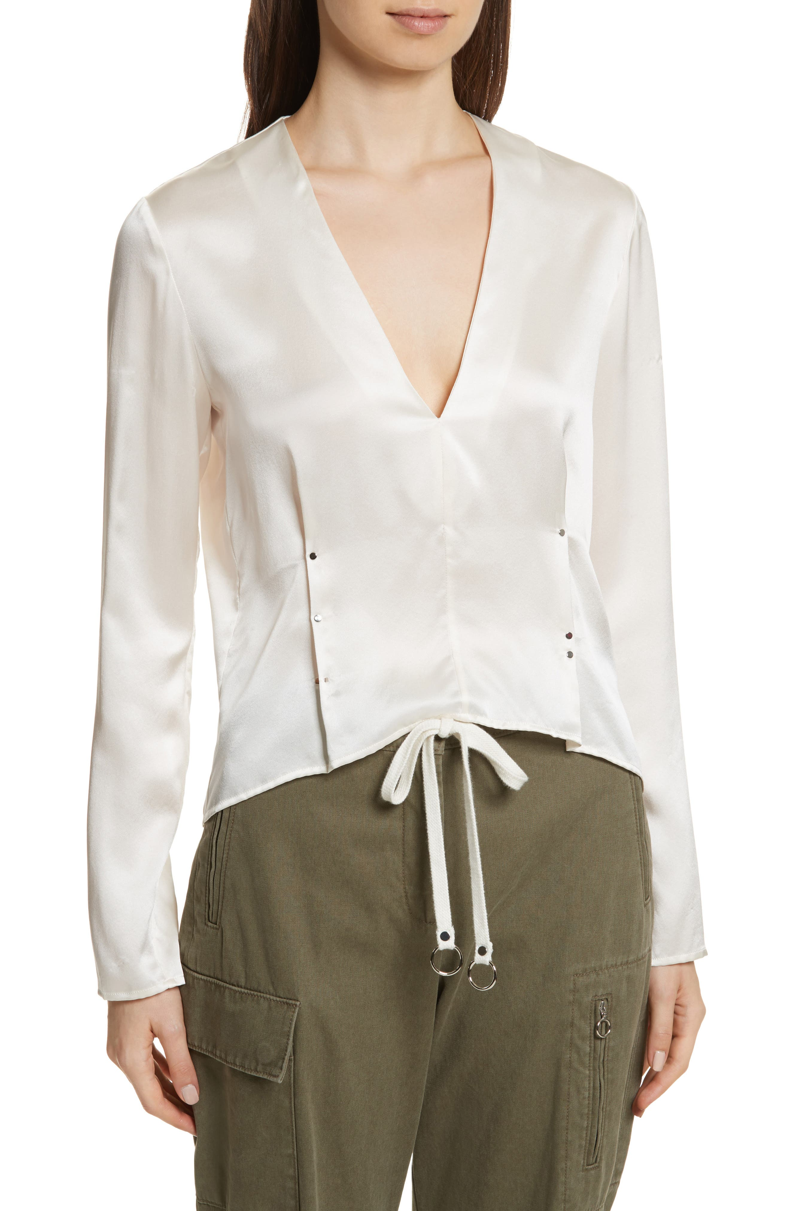 Silk Blouse,                         Main,                         color, Ivory