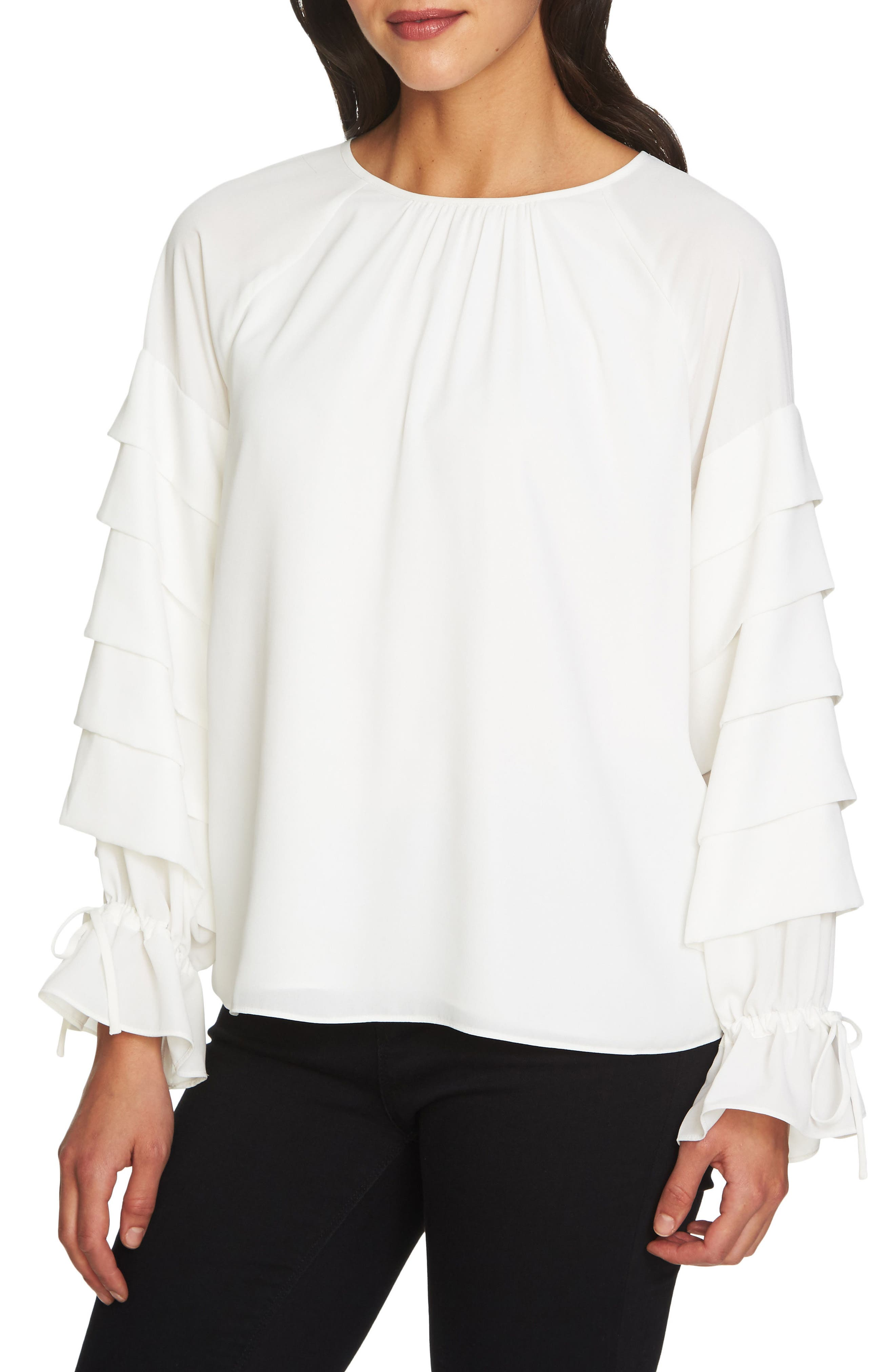 Tiered Sleeve Top,                             Main thumbnail 1, color,                             108-Antiq. White