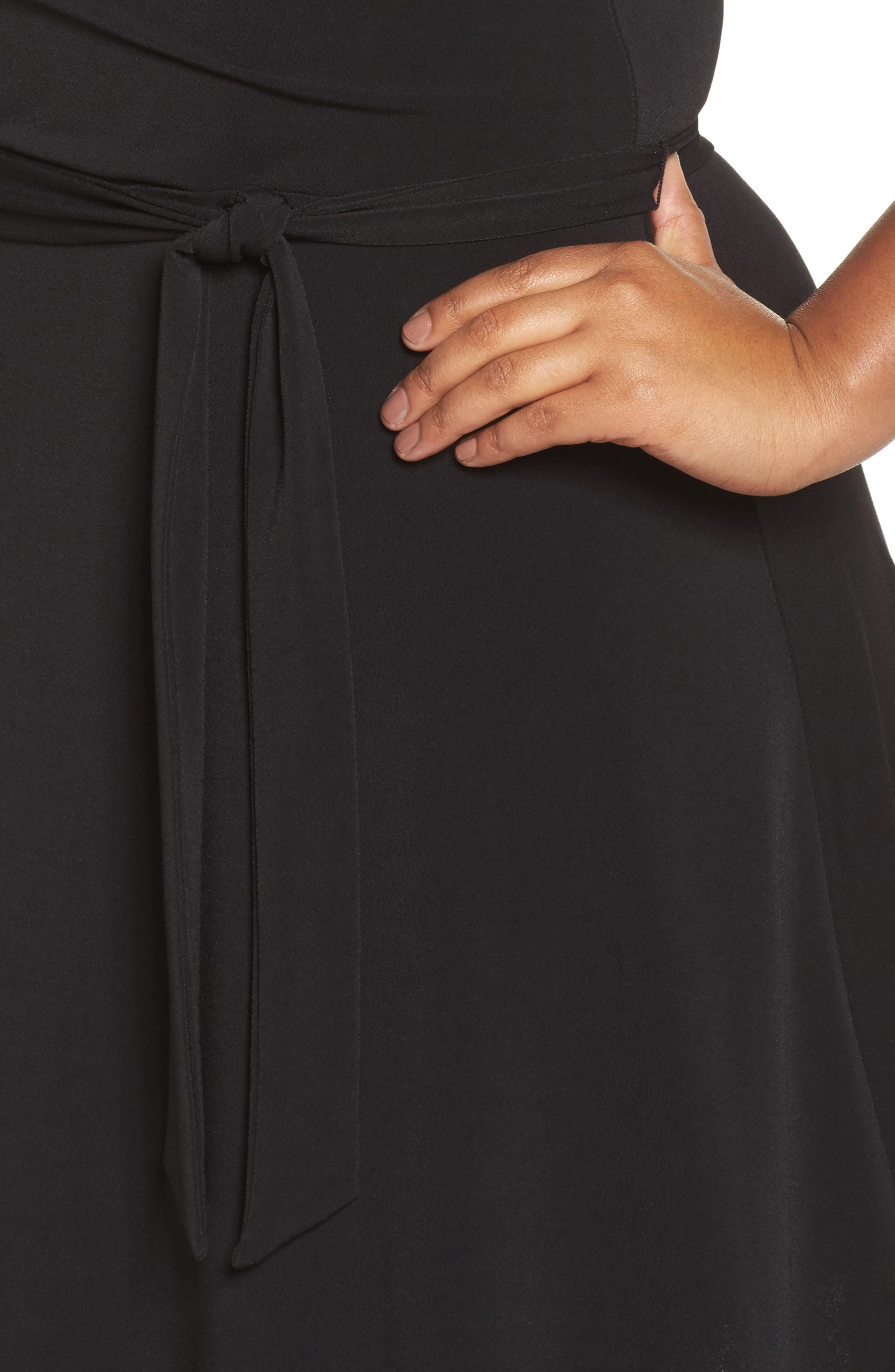 Wrap Dress,                             Alternate thumbnail 4, color,                             Black Crepe
