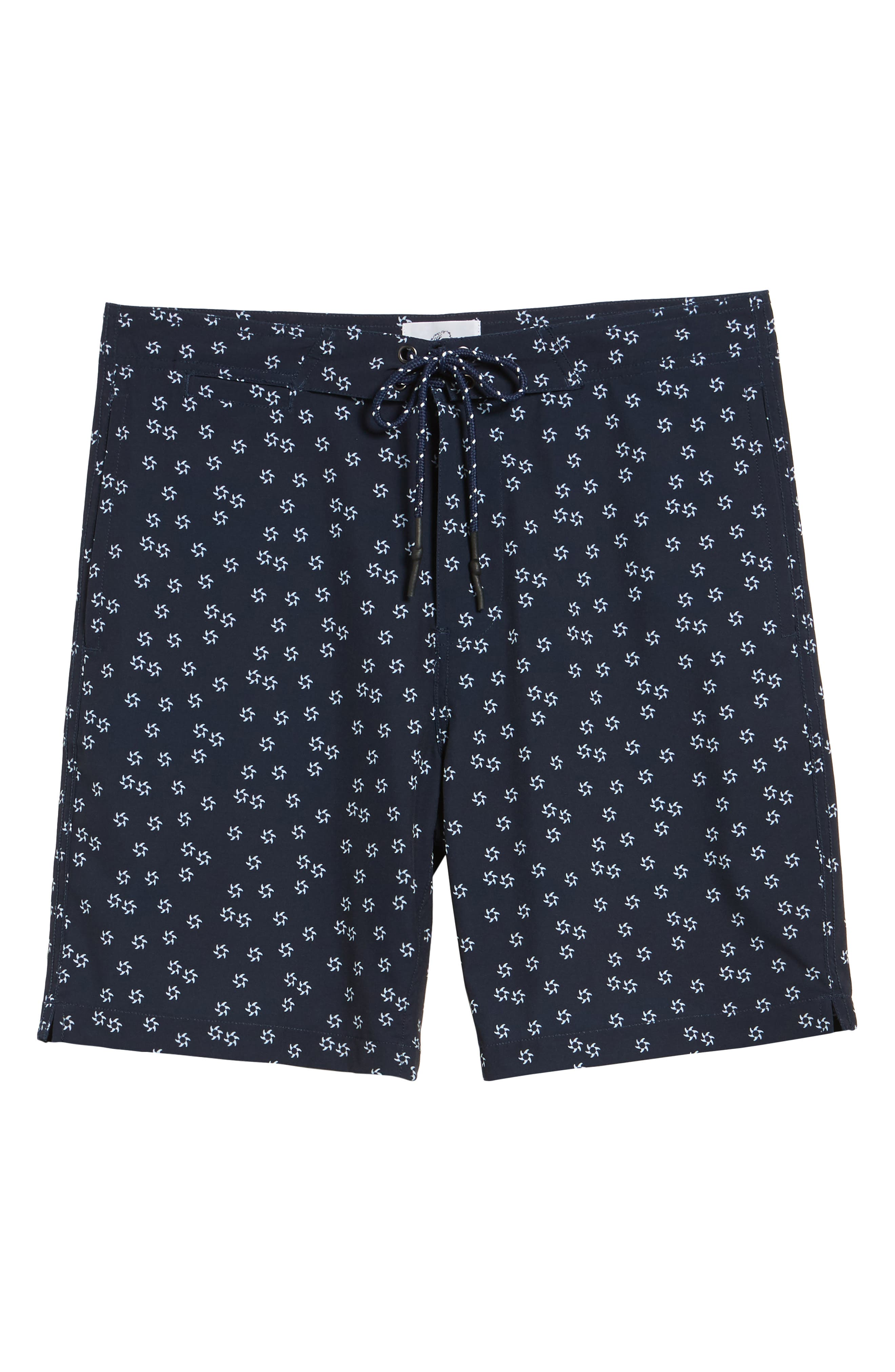Fin Print Board Shorts,                             Alternate thumbnail 6, color,                             Navy Blazer
