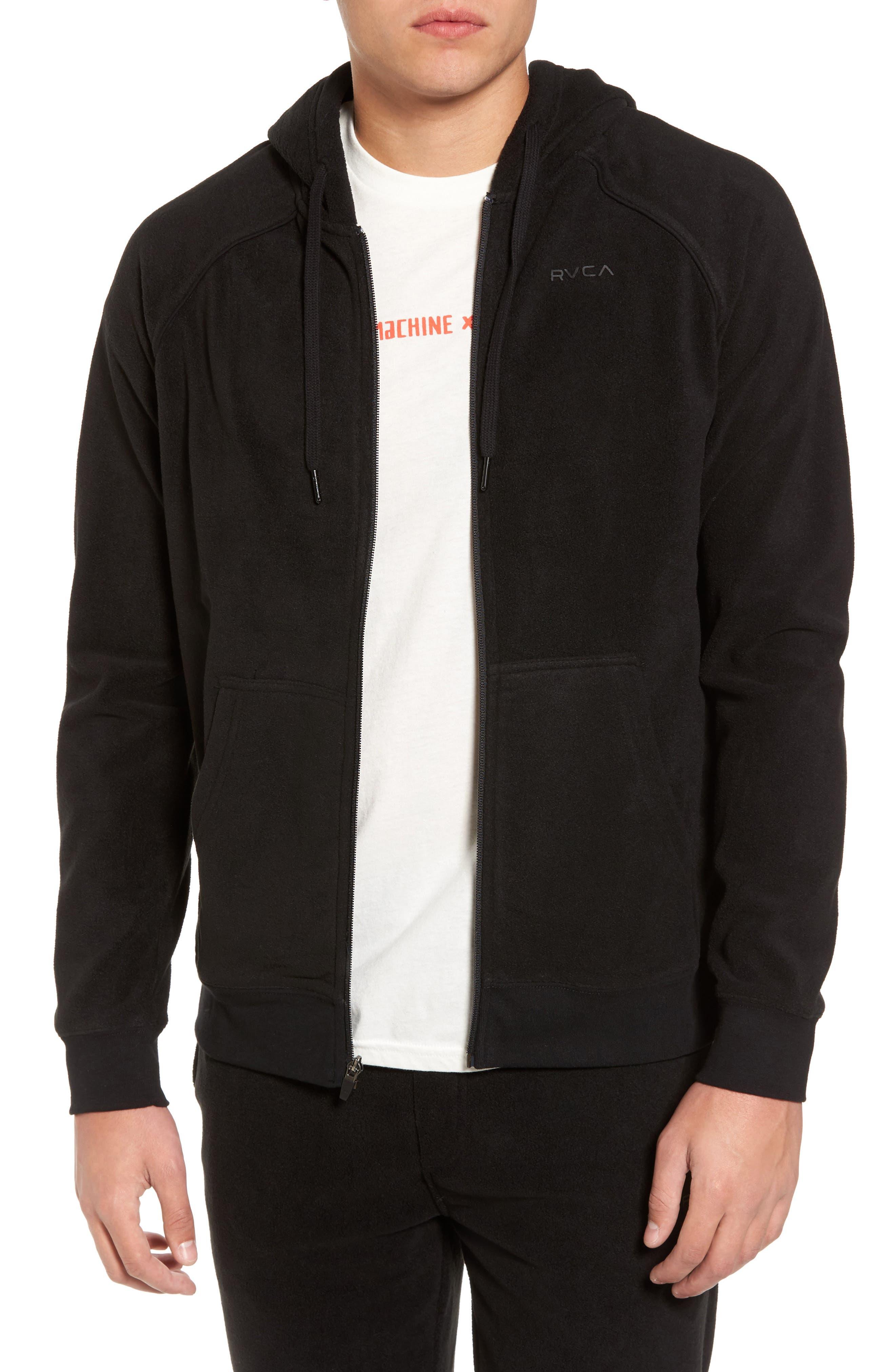 Slider Zip Through Fleece Hoodie,                         Main,                         color, Black