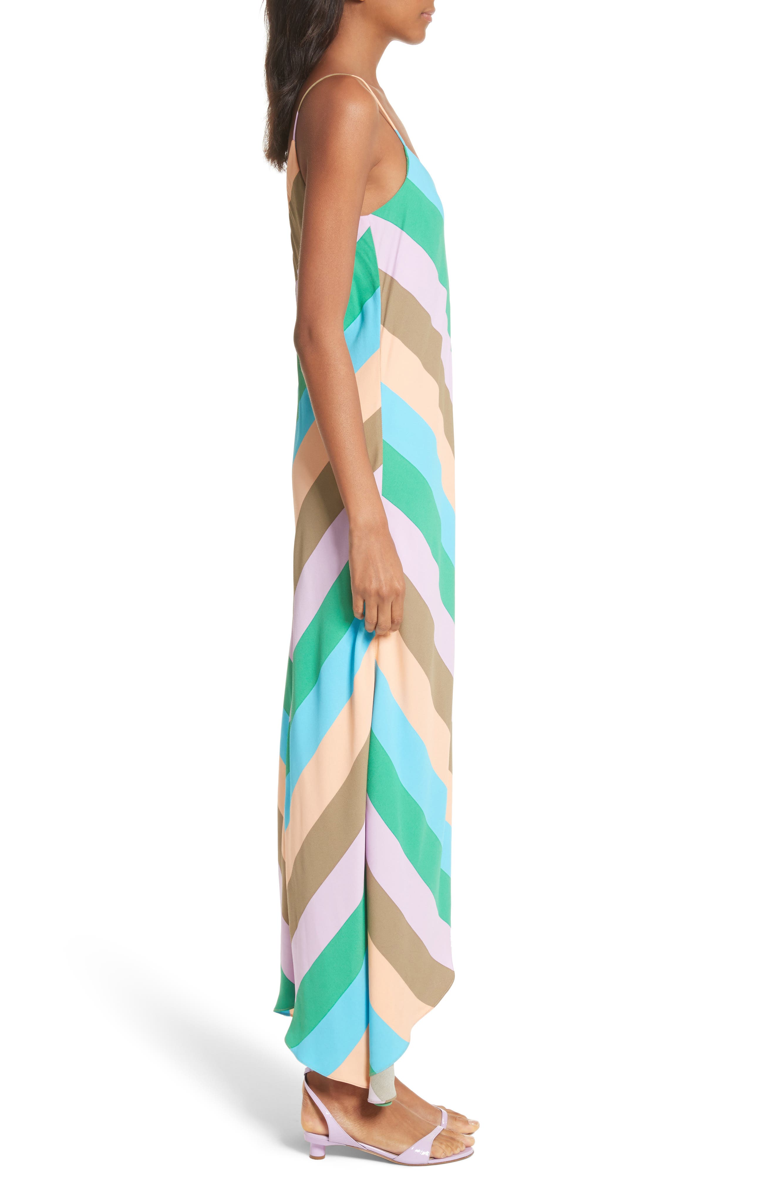 Maxi Slip Dress,                             Alternate thumbnail 3, color,                             Rugby Multi