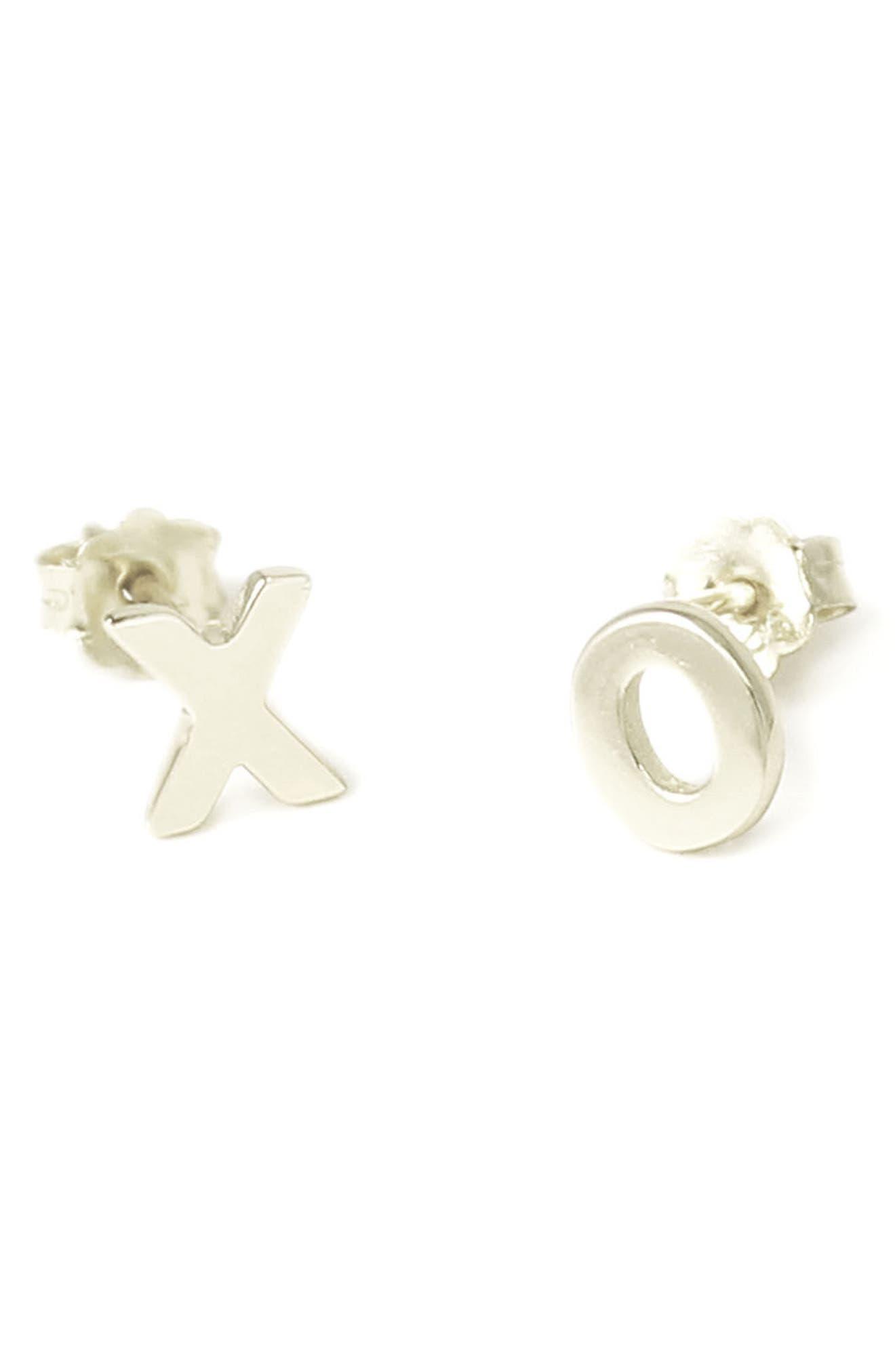 XO Stud Earrings,                             Main thumbnail 1, color,                             Silver
