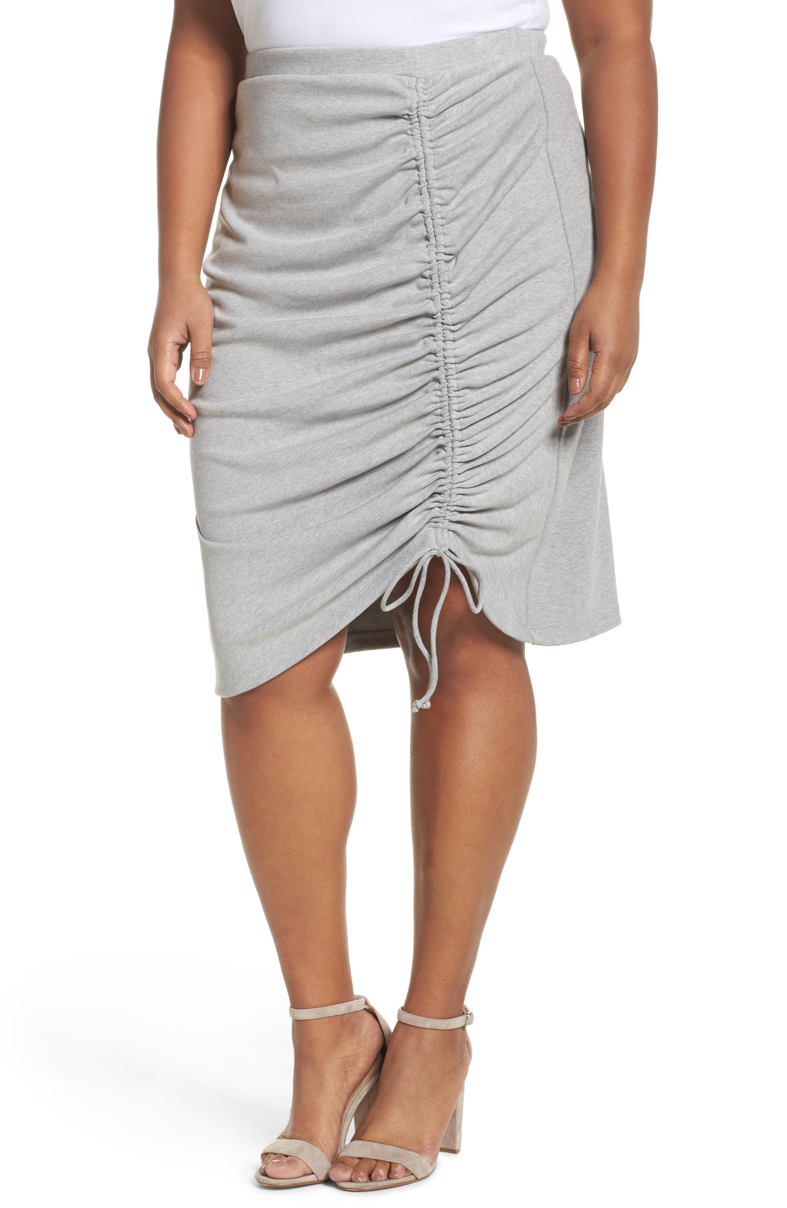 Sejour Side Ruched Pencil Skirt (Plus Size)