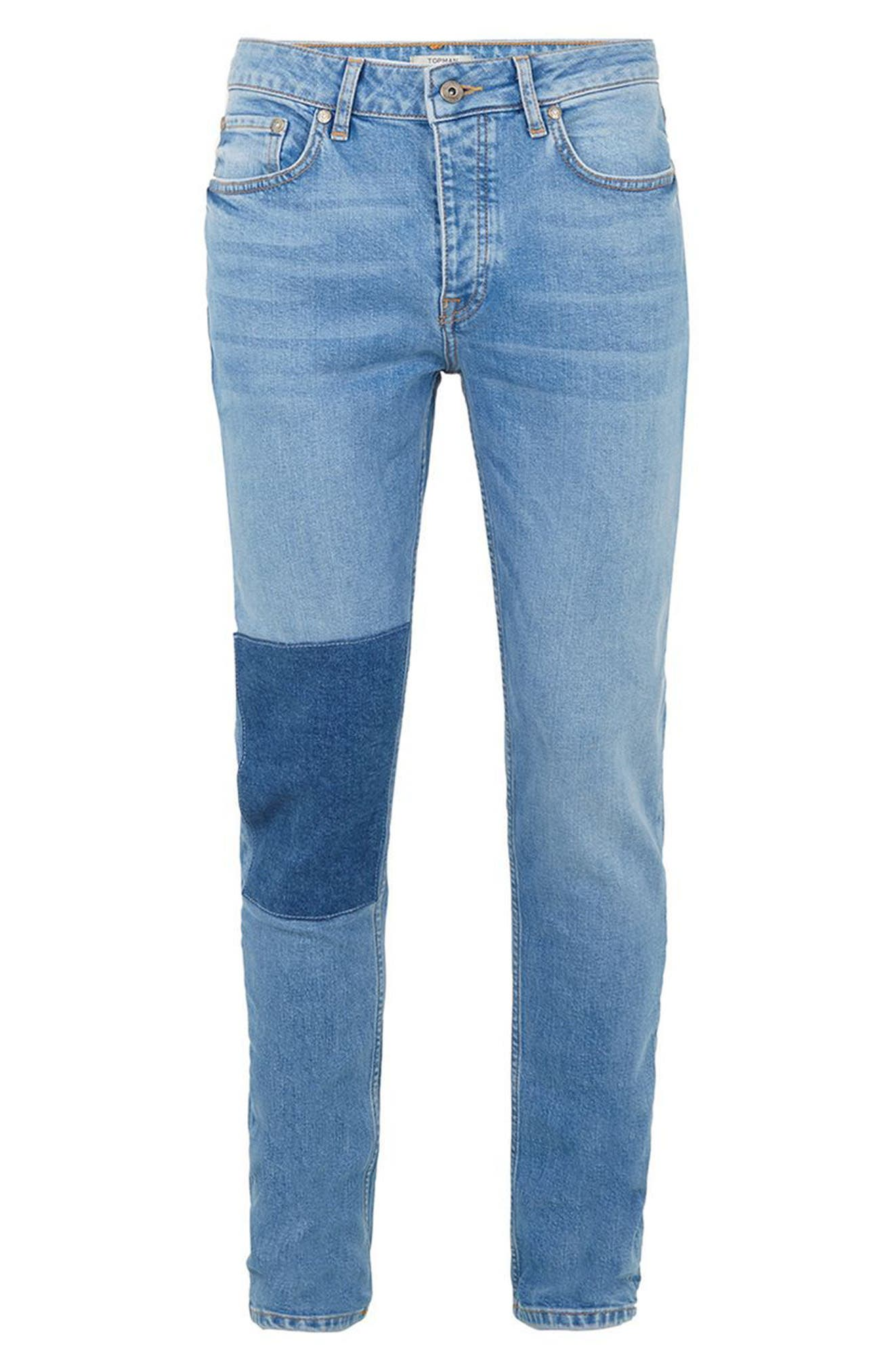 Patch Stretch Skinny Jeans,                             Alternate thumbnail 4, color,                             Blue