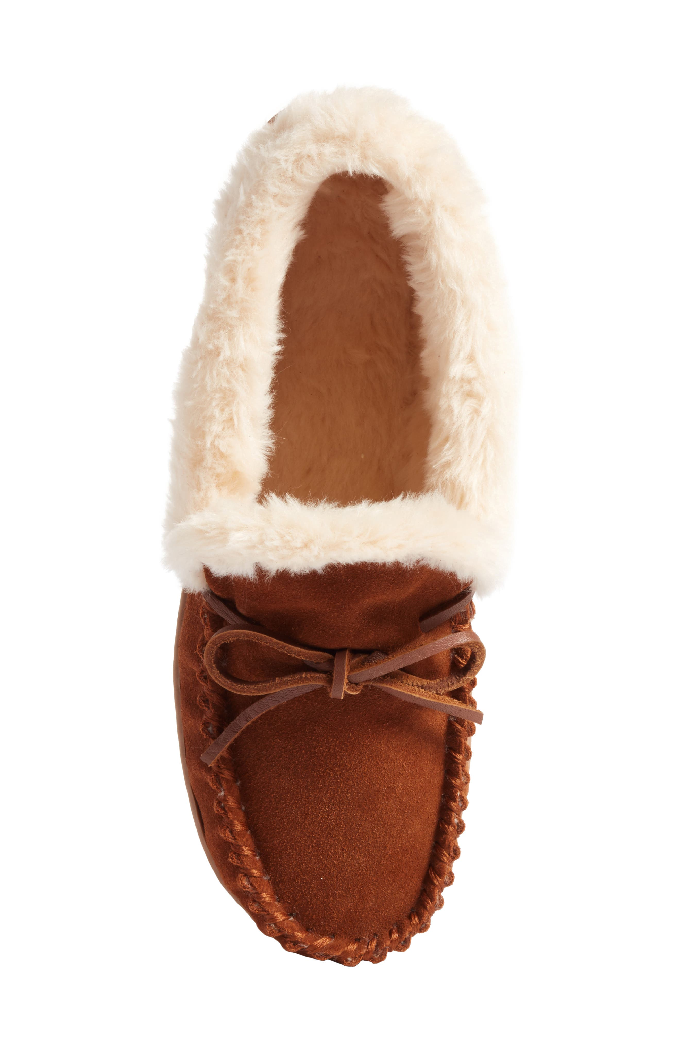 J.Crew Lodge Faux Shearling Moc Slipper,                             Alternate thumbnail 6, color,                             Dark Nutmeg Suede