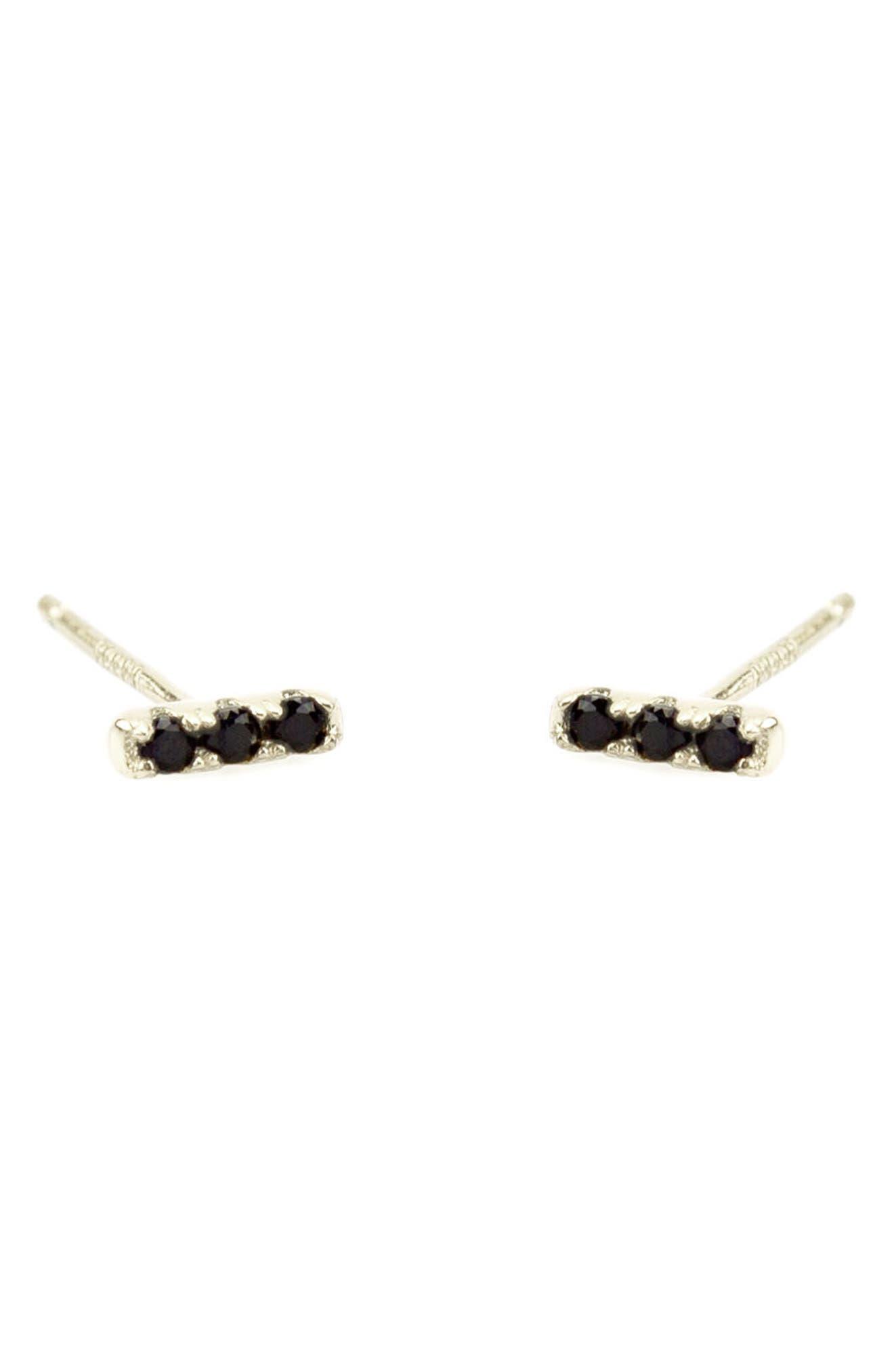 Pavé Dash Stud Earrings,                         Main,                         color, Silver Jet