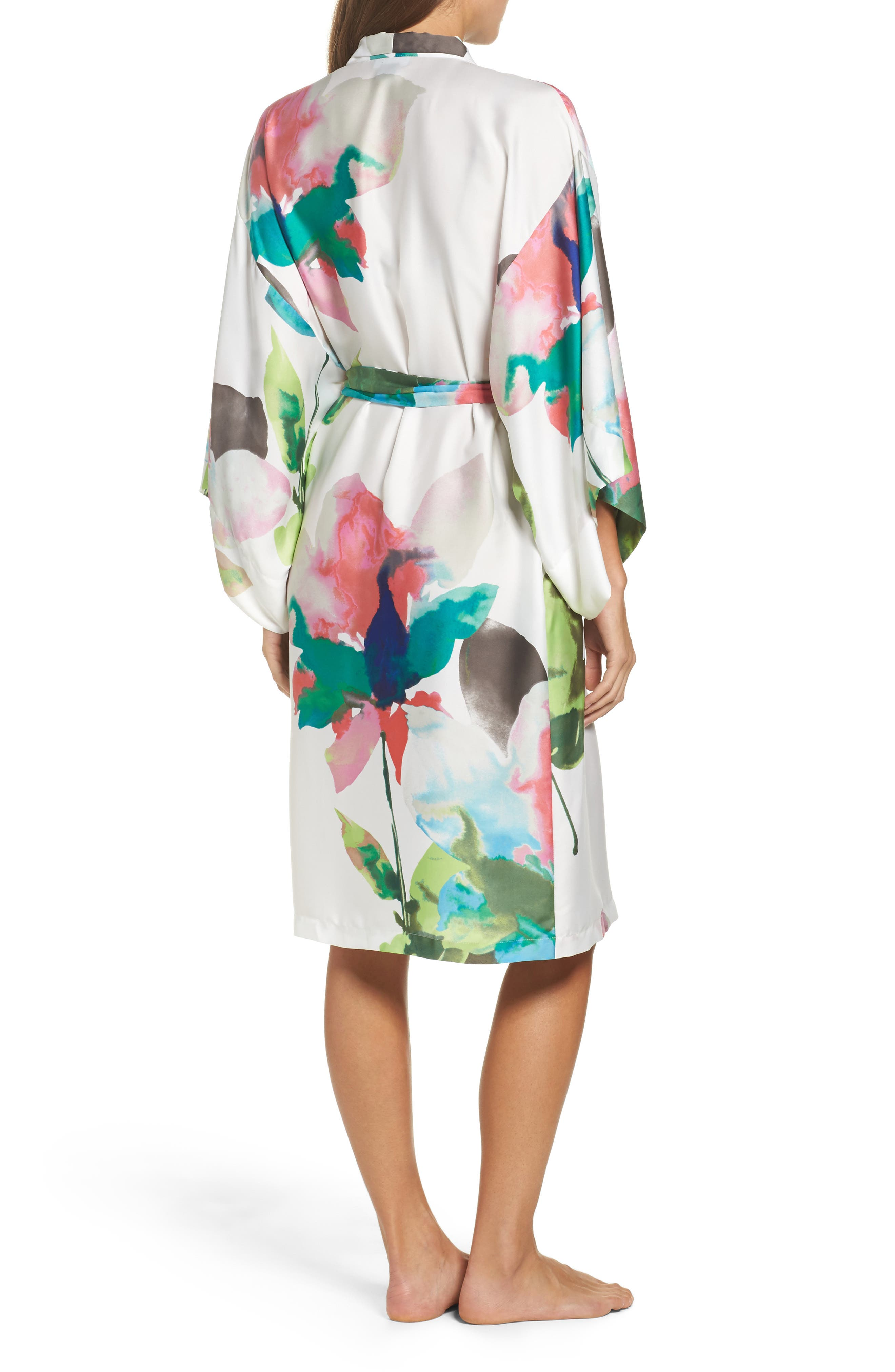 Water Lily Print Satin Wrap Robe,                             Alternate thumbnail 2, color,                             Mlt- Warm Wht Multi
