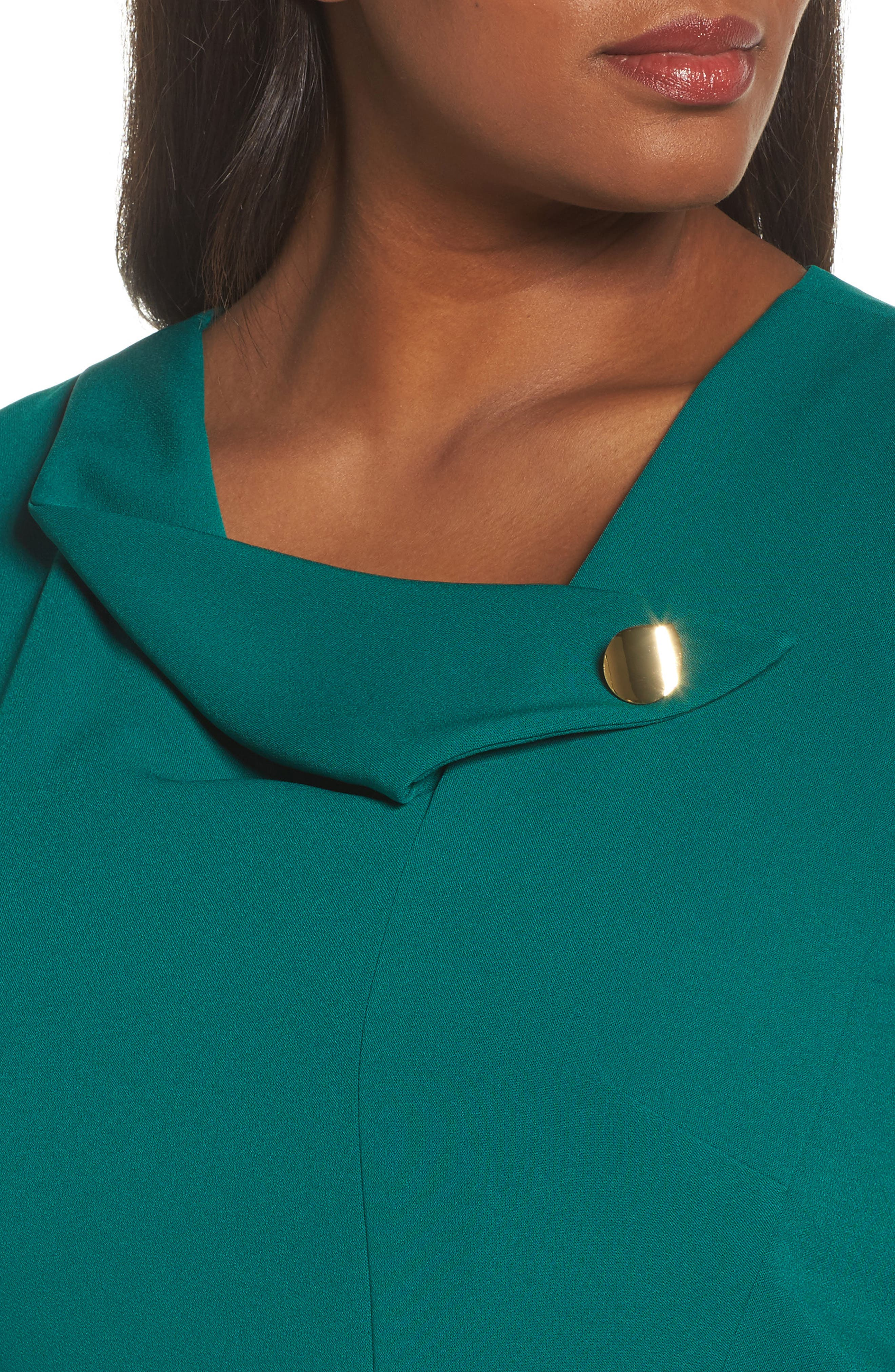 Envelope Neck with Button Sheath Dress,                             Alternate thumbnail 4, color,                             Emerald