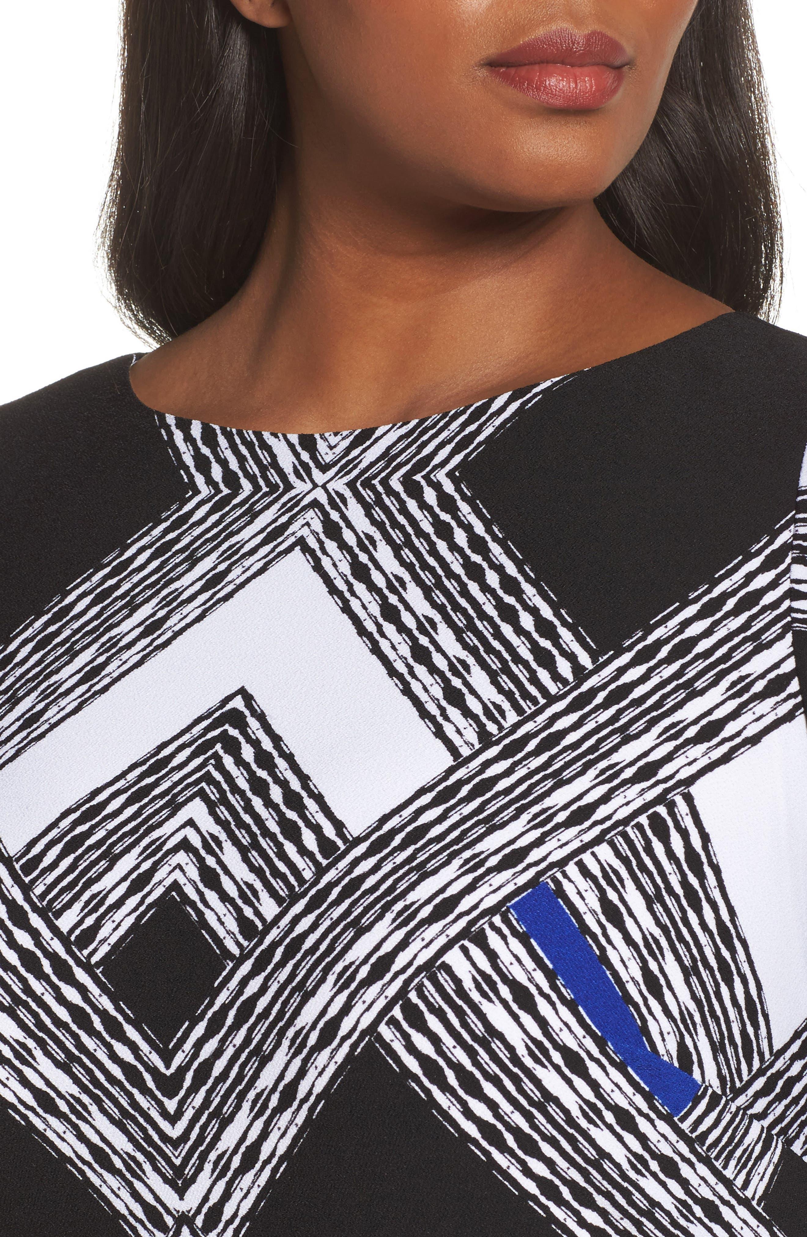 Alternate Image 4  - Vince Camuto Geo Print Shift Dress (Plus Size)