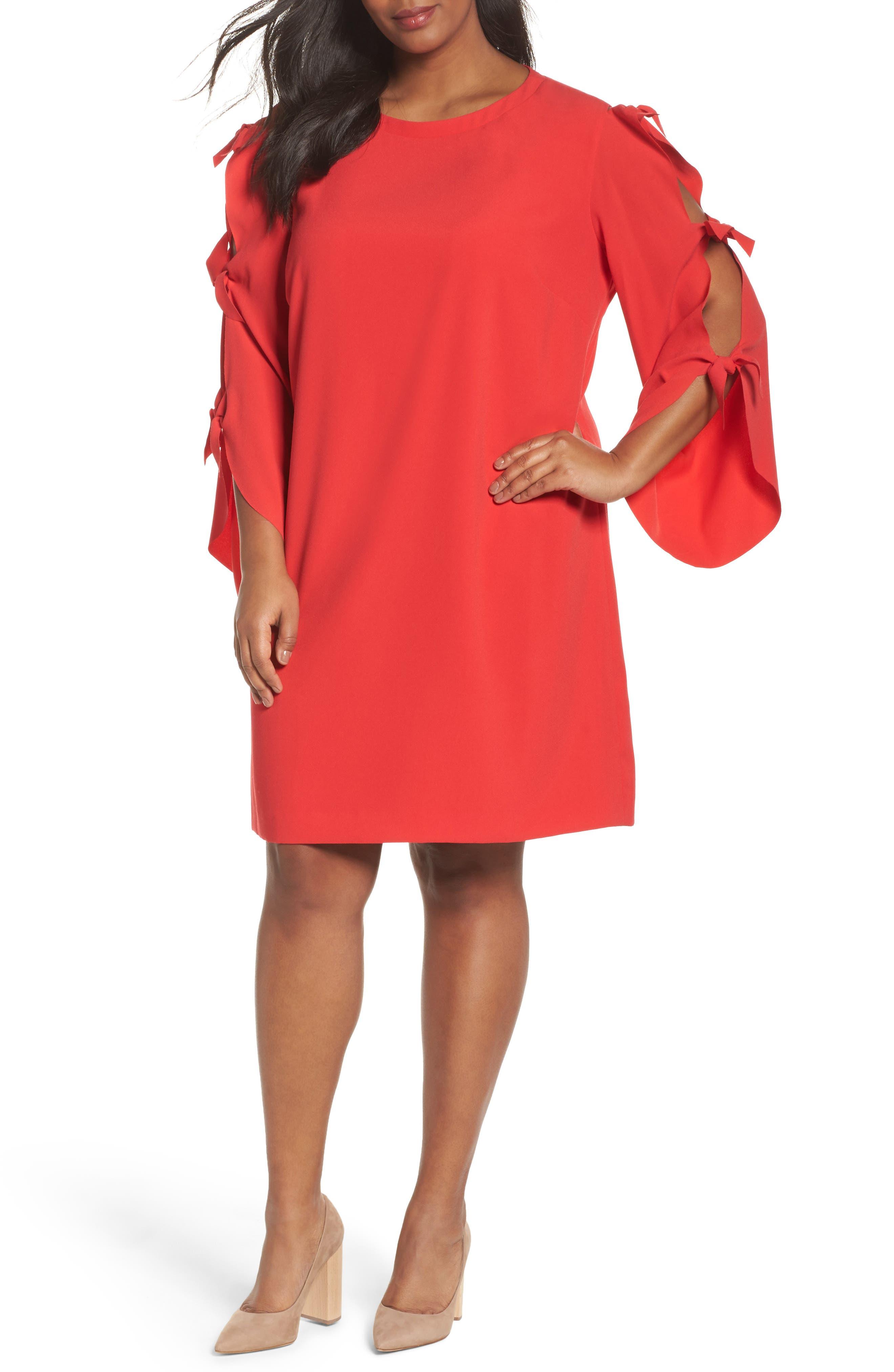Split Tie Sleeve Shift Dress,                         Main,                         color, Fiesta Pink