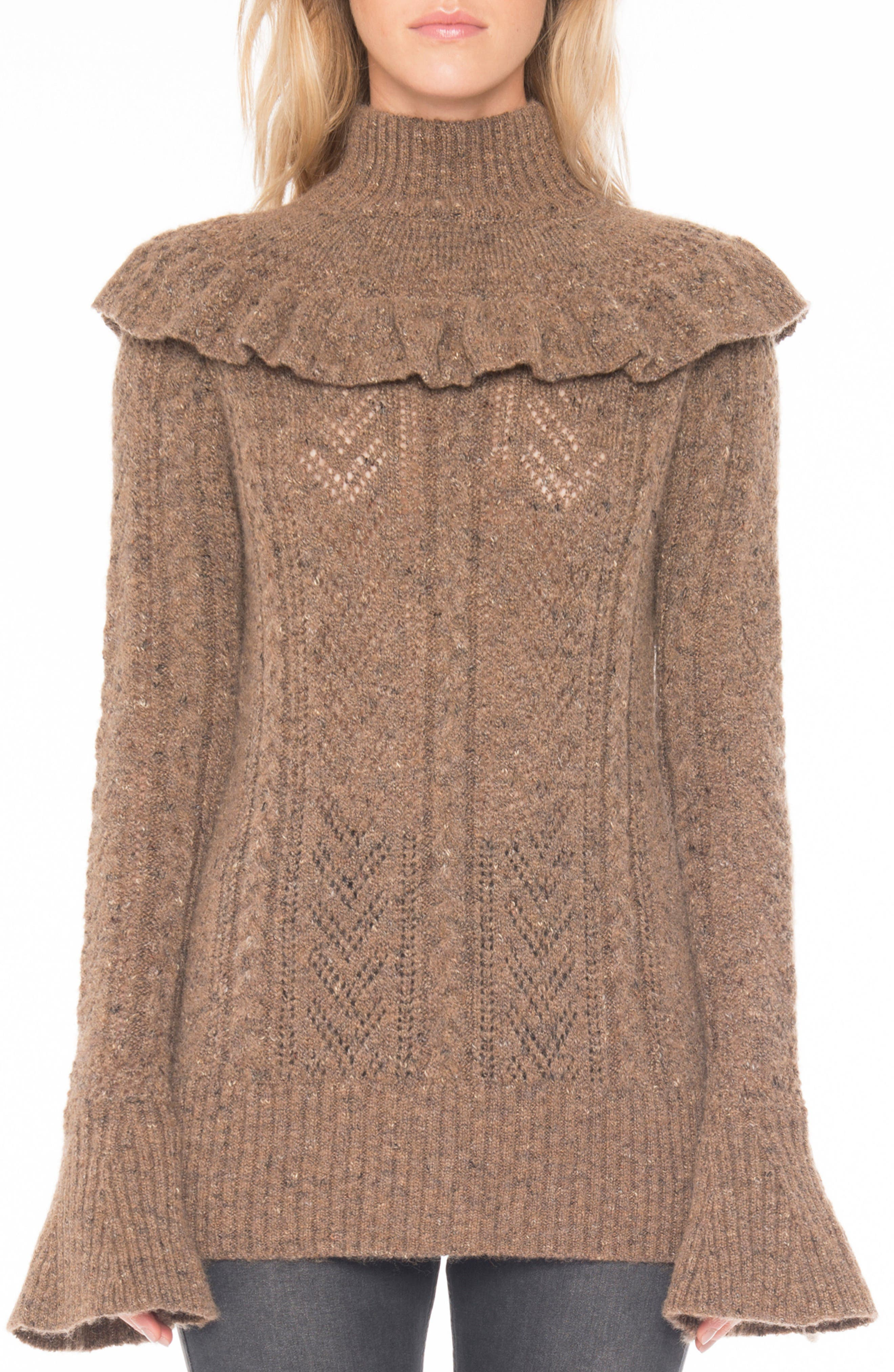 Pointelle Turtleneck Sweater,                             Main thumbnail 1, color,                             Toffee