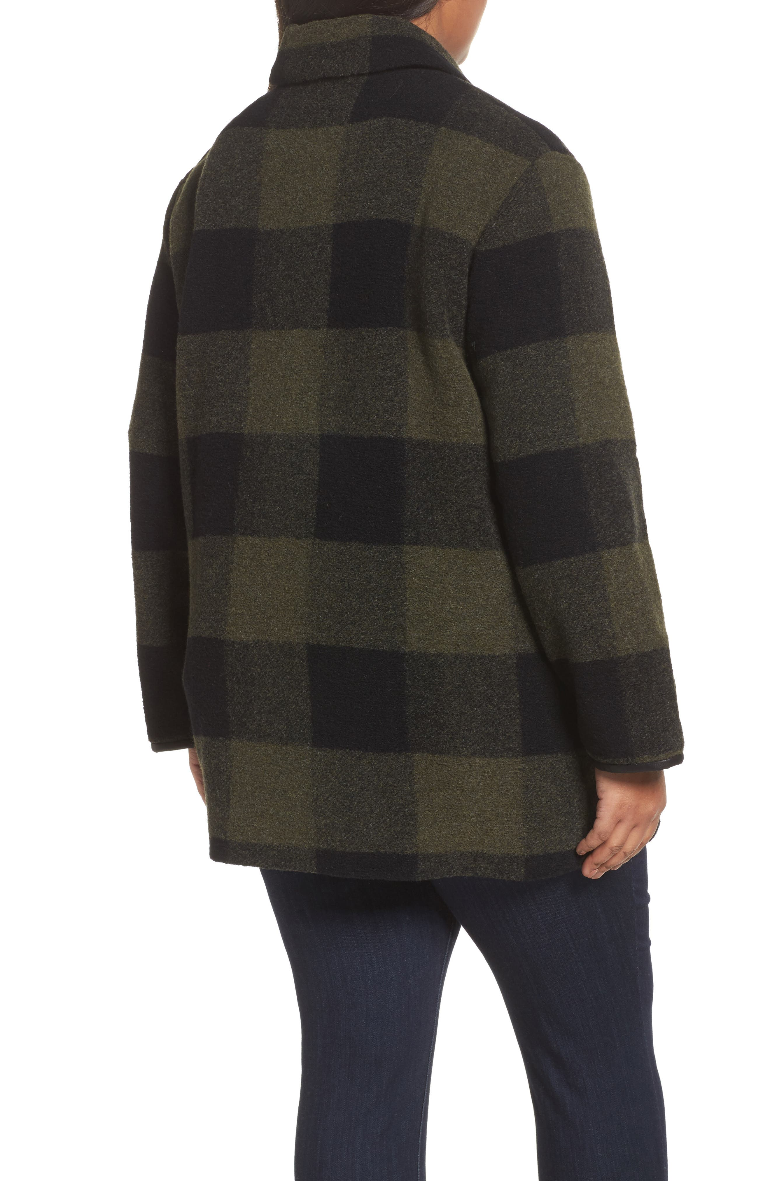 Paul Bunyan Plaid Wool Blend Barn Coat,                             Alternate thumbnail 2, color,                             Olive/ Buff