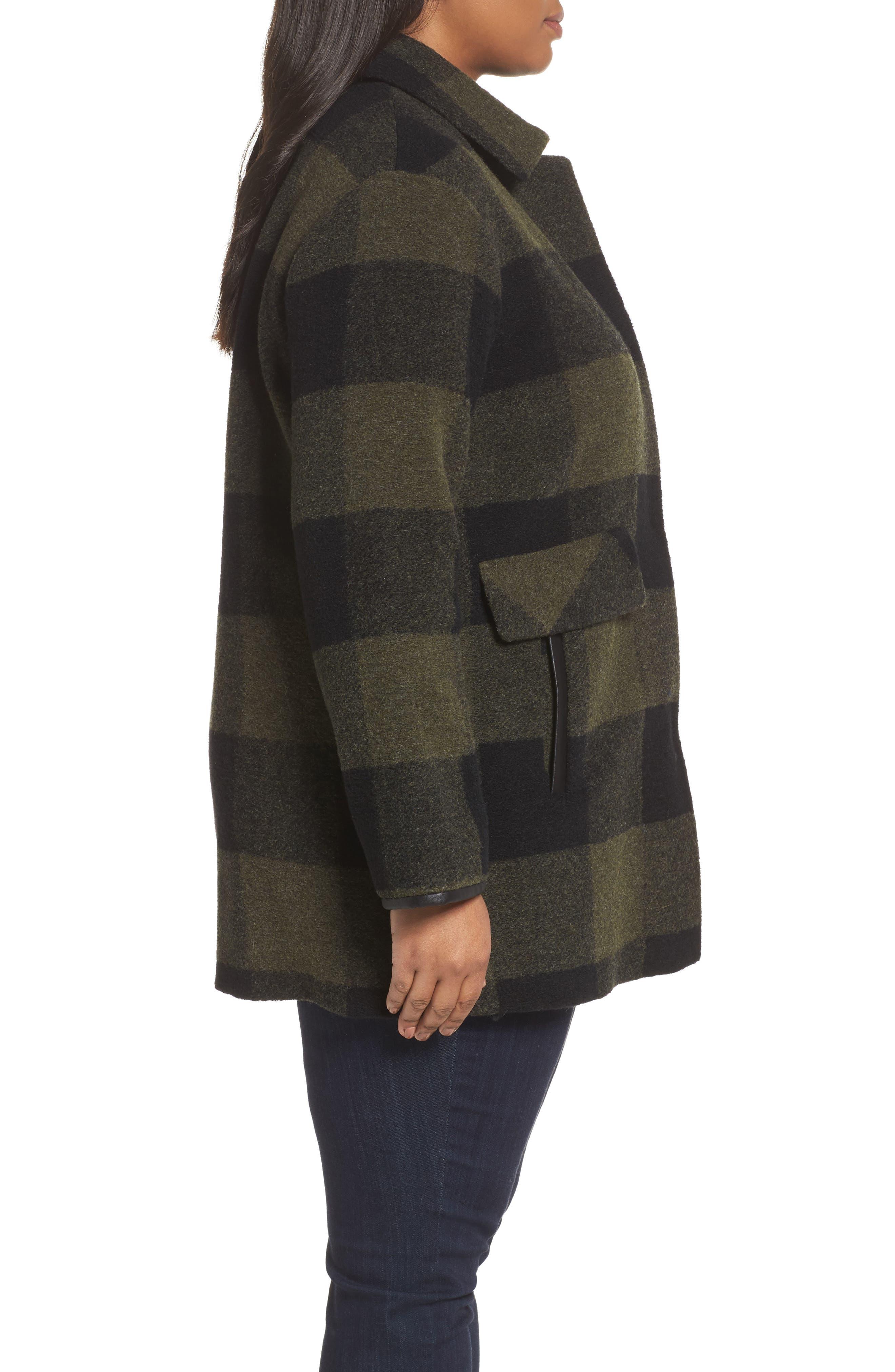 Paul Bunyan Plaid Wool Blend Barn Coat,                             Alternate thumbnail 3, color,                             Olive/ Buff