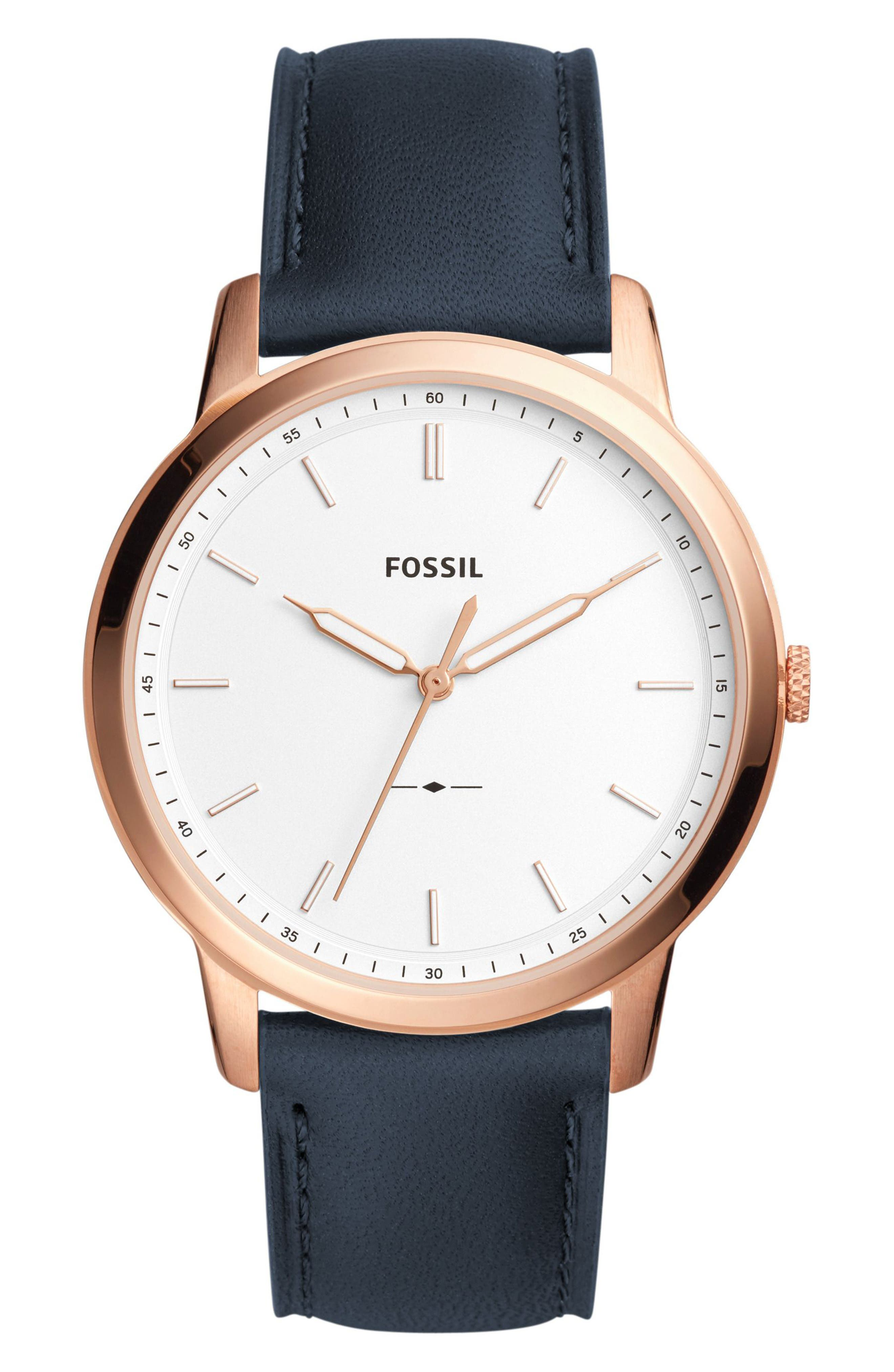 Minimalist Leather Strap Watch, 44mm,                         Main,                         color, Navy/ White/ Rose Gold