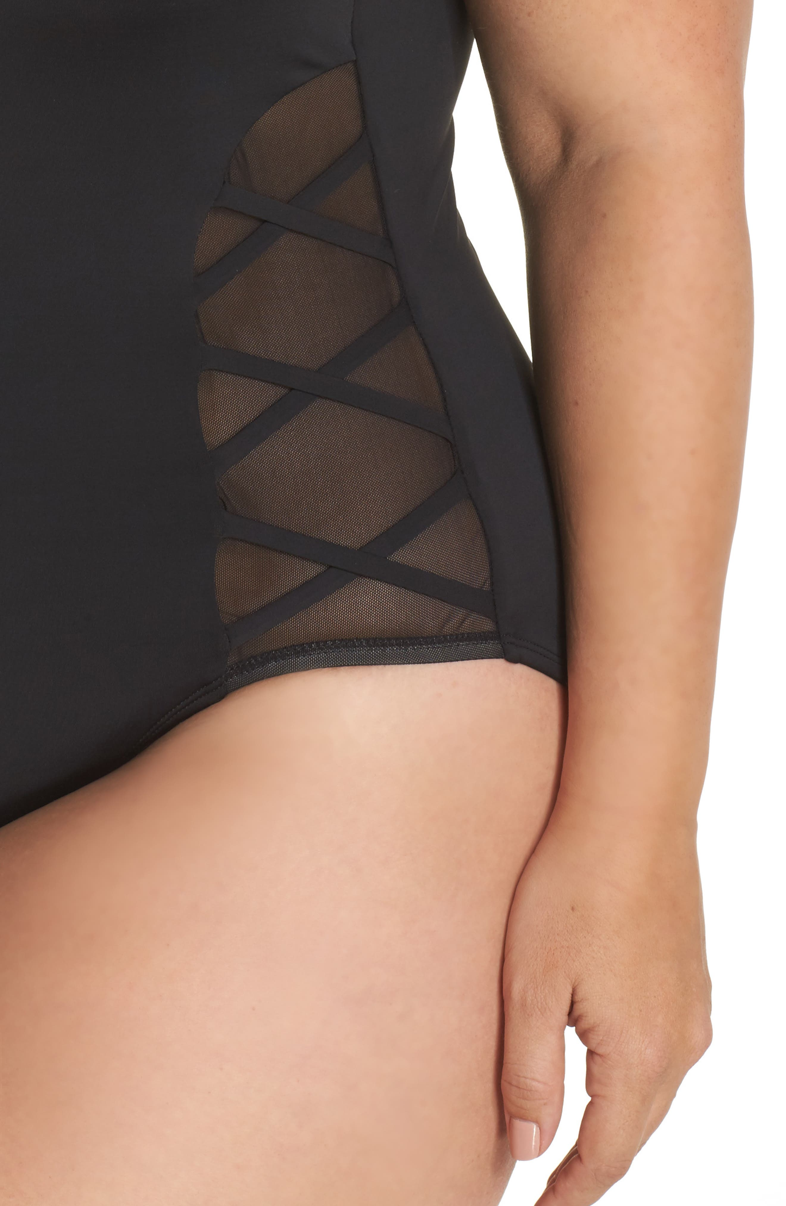 Mio One-Piece Swimsuit,                             Alternate thumbnail 4, color,                             Black