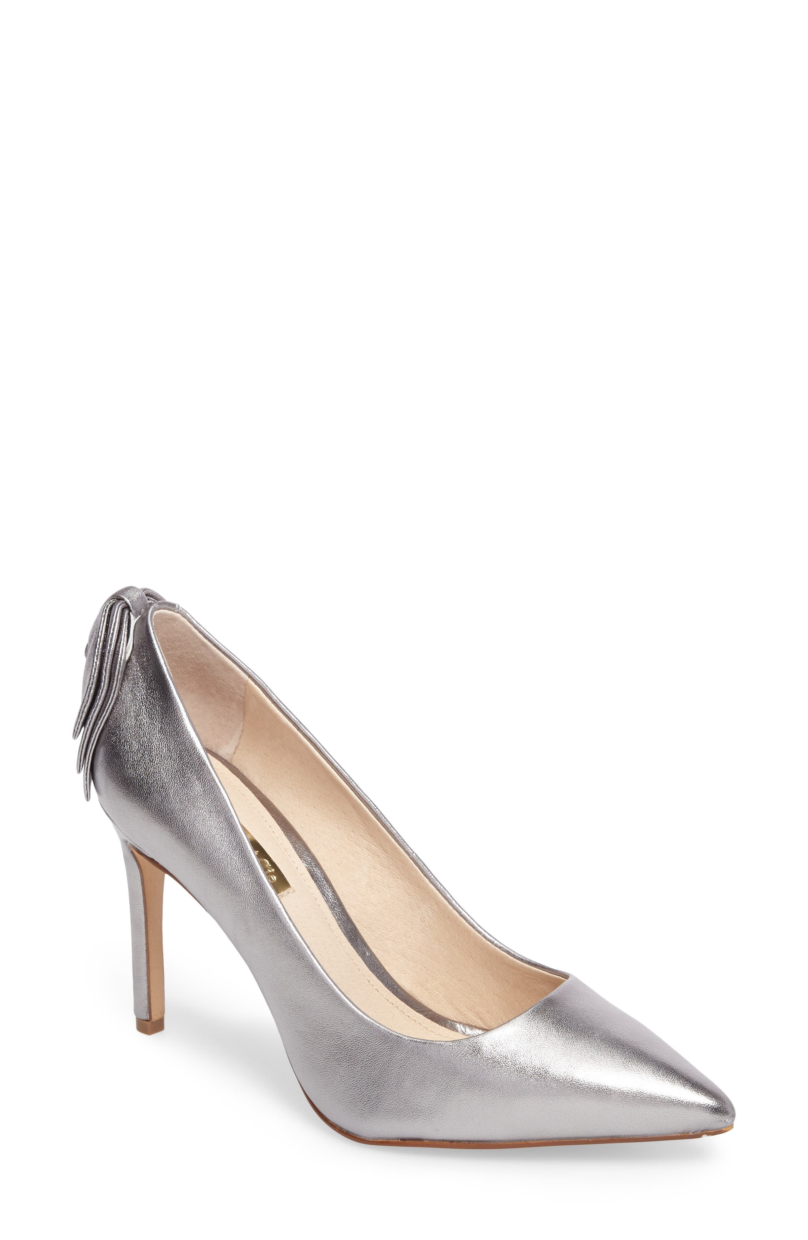 Josely Pointy Toe Pump,                         Main,                         color, Chrome Leather