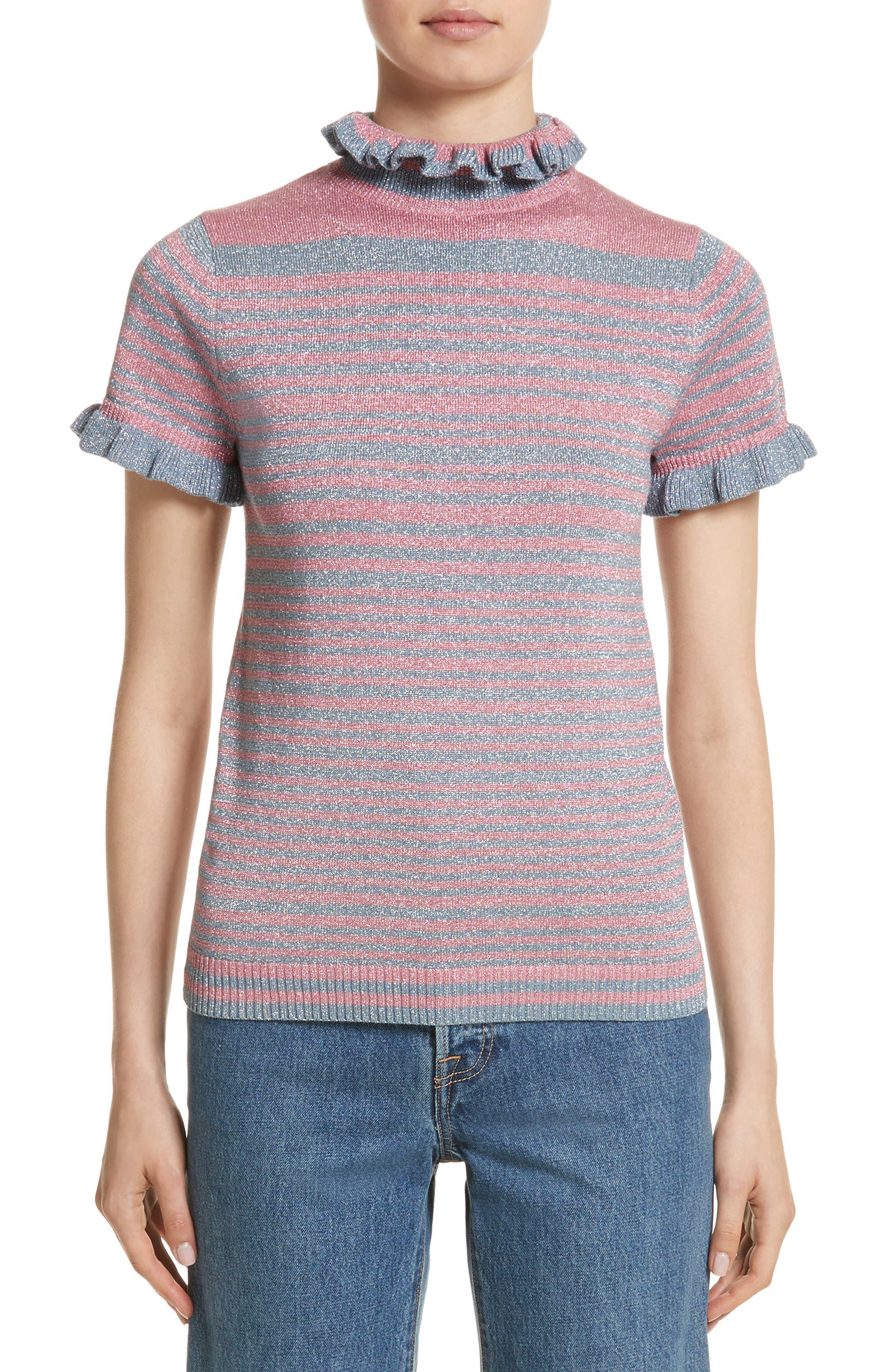 Shrimps Joan Metallic Stripe Short Sleeve Sweater