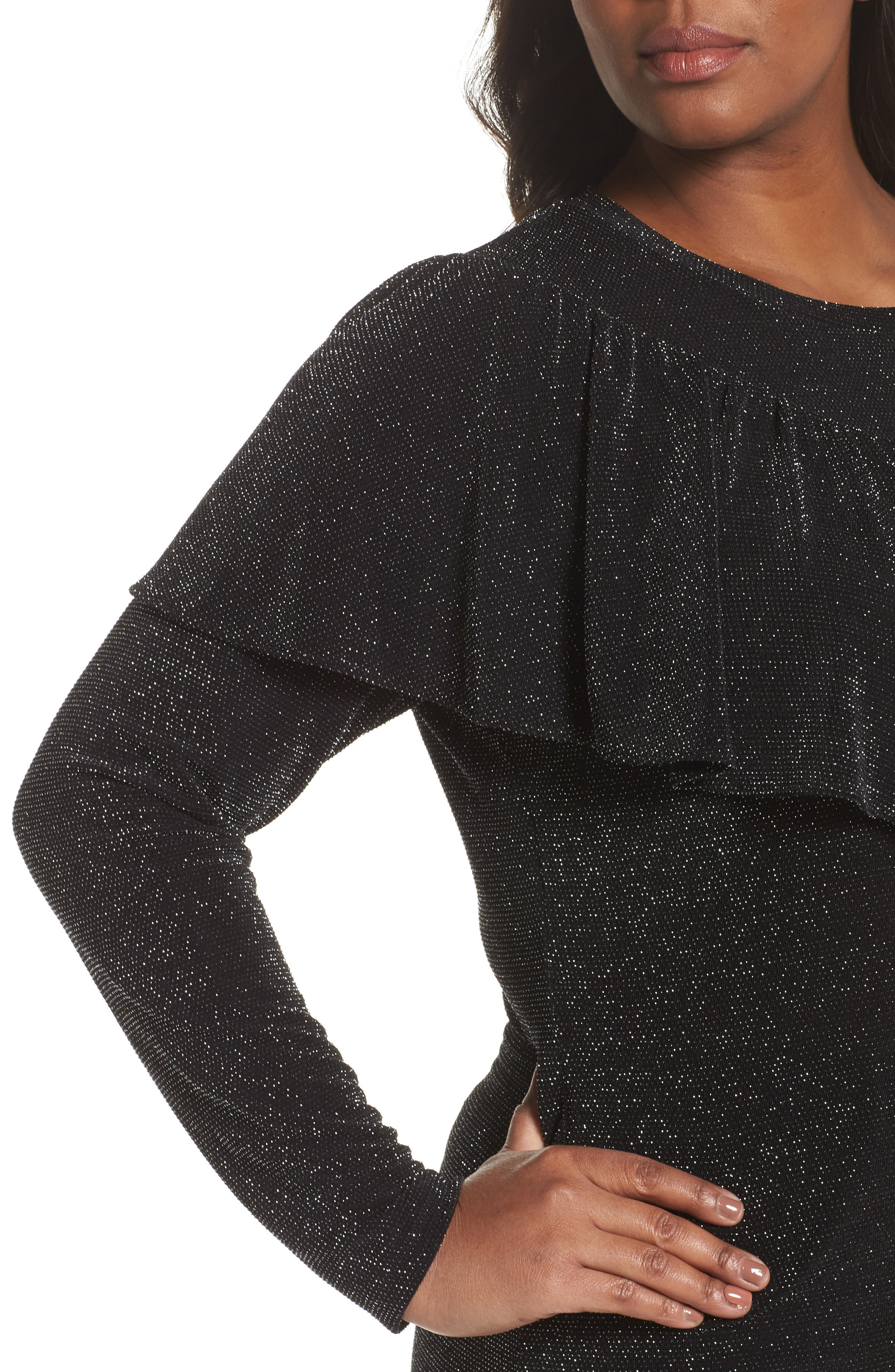 Ruffled Metallic Top,                             Alternate thumbnail 4, color,                             Black
