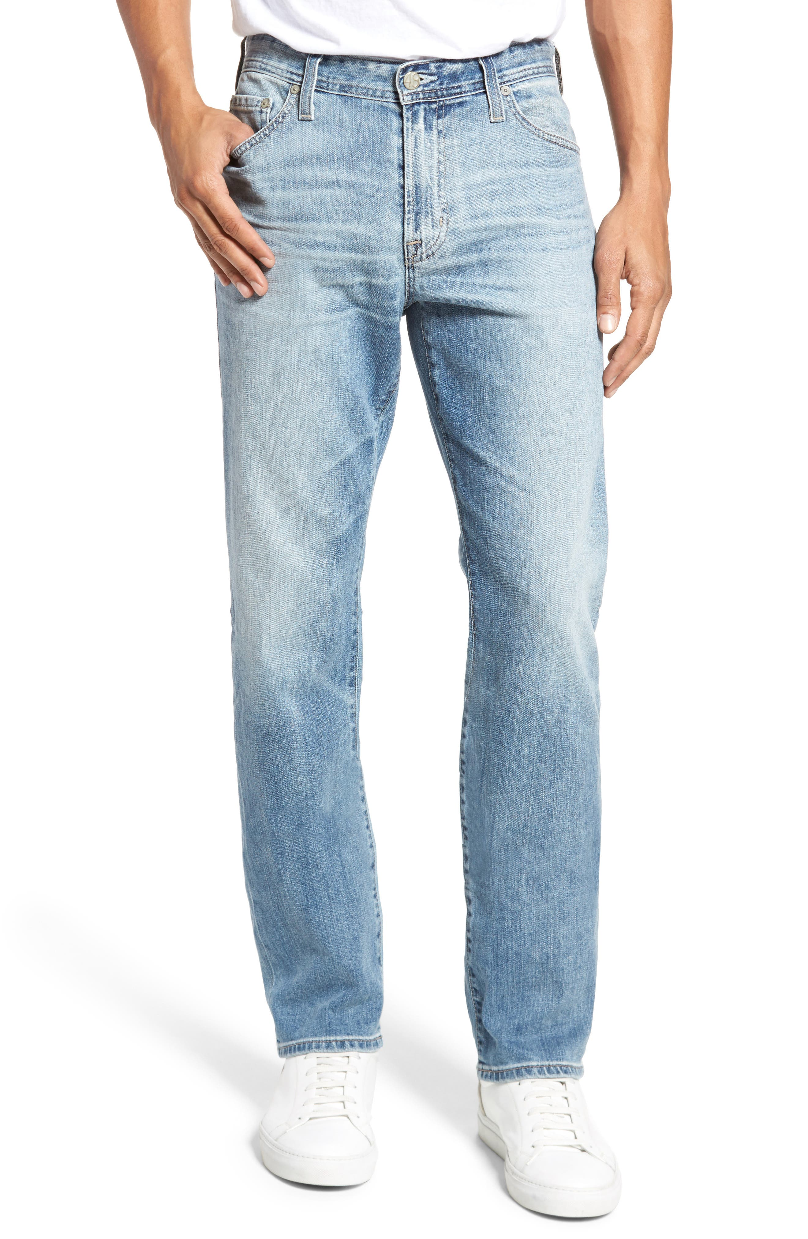 Everett Slim Straight Fit Jeans,                             Main thumbnail 1, color,                             Bright Sky