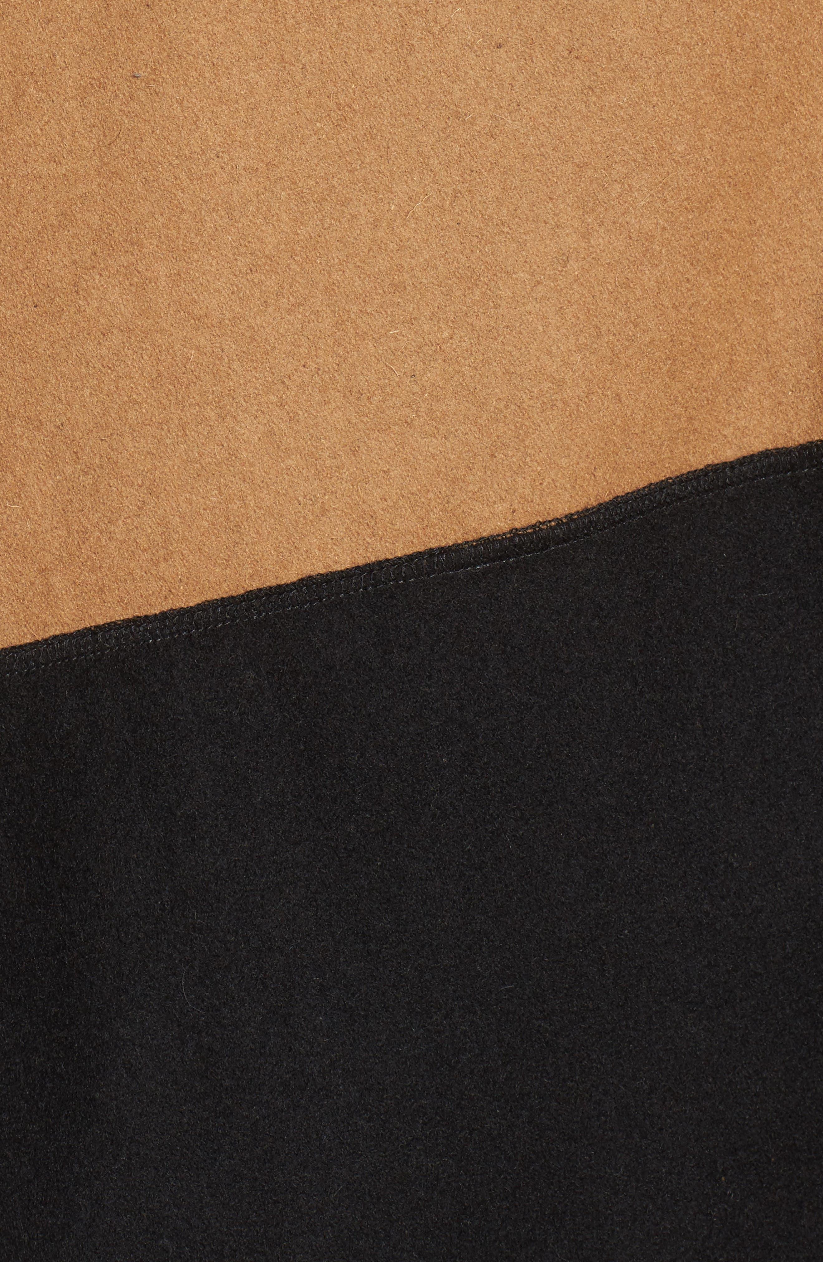 Duo Wonder Wool Cape,                             Alternate thumbnail 5, color,                             Camel/ Black