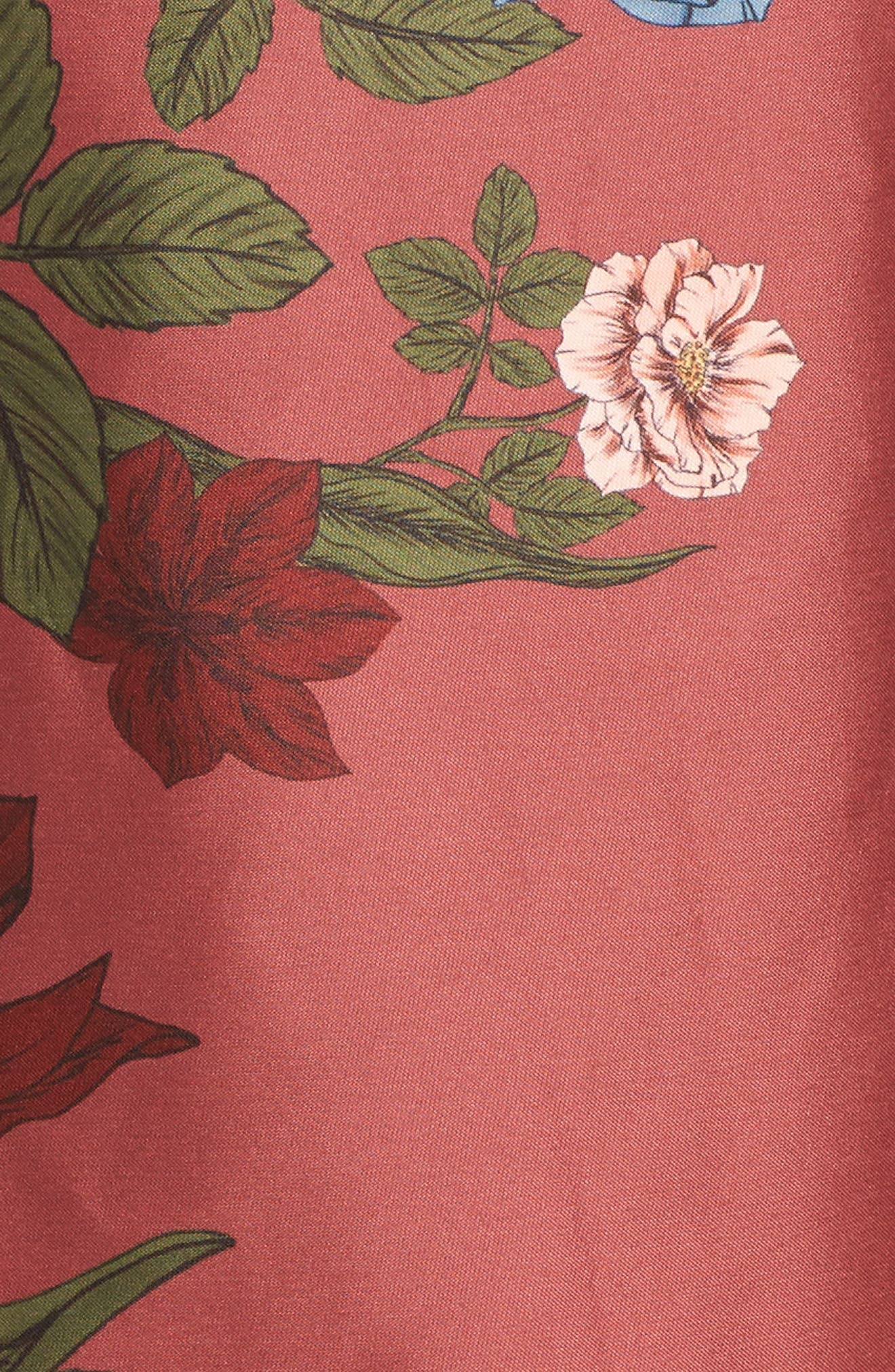 Night Lights Floral Asymmetrical Dress,                             Alternate thumbnail 5, color,                             Spice Floral
