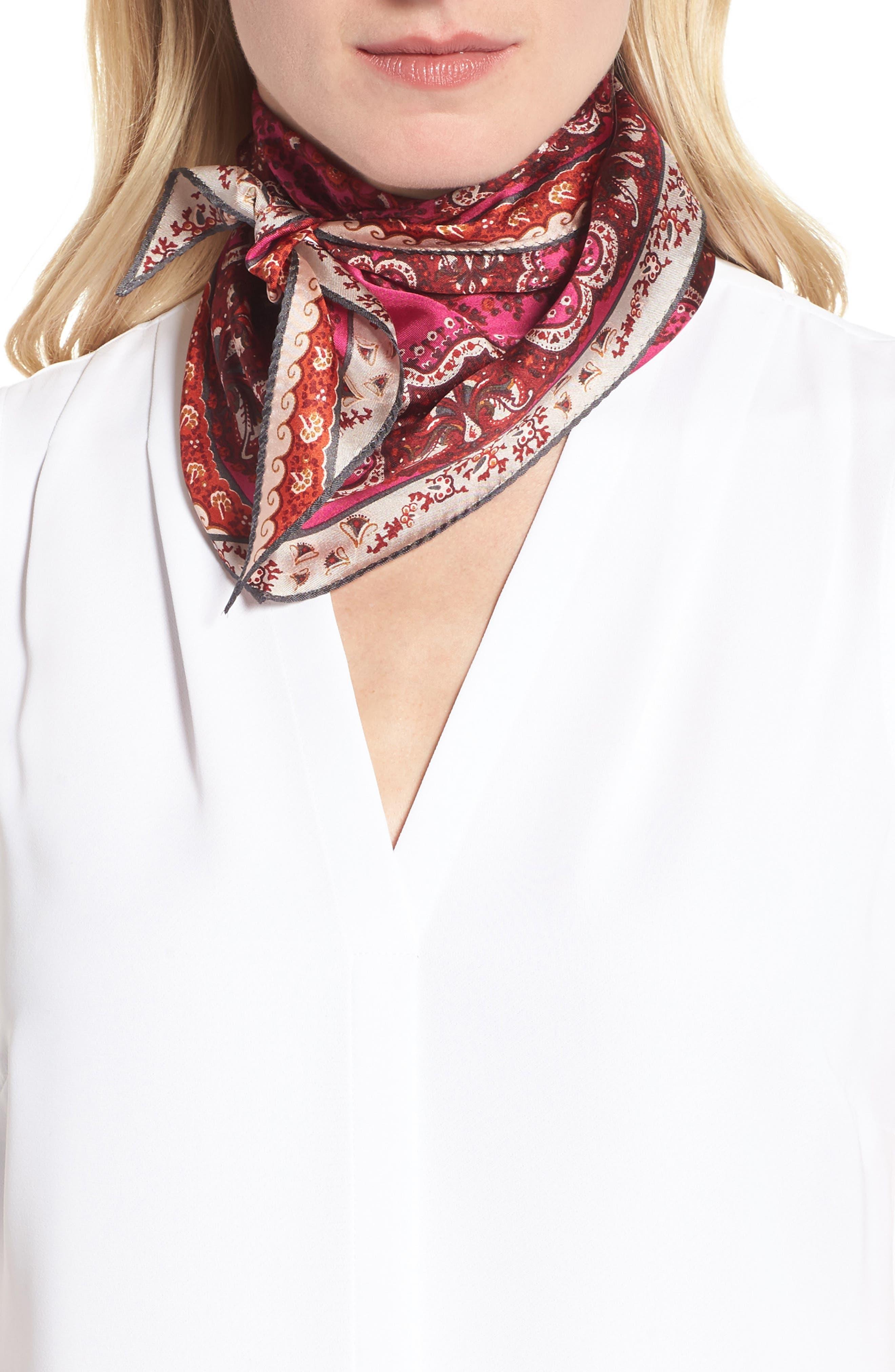 Paisley Lace Diamond Silk Scarf,                         Main,                         color, Port