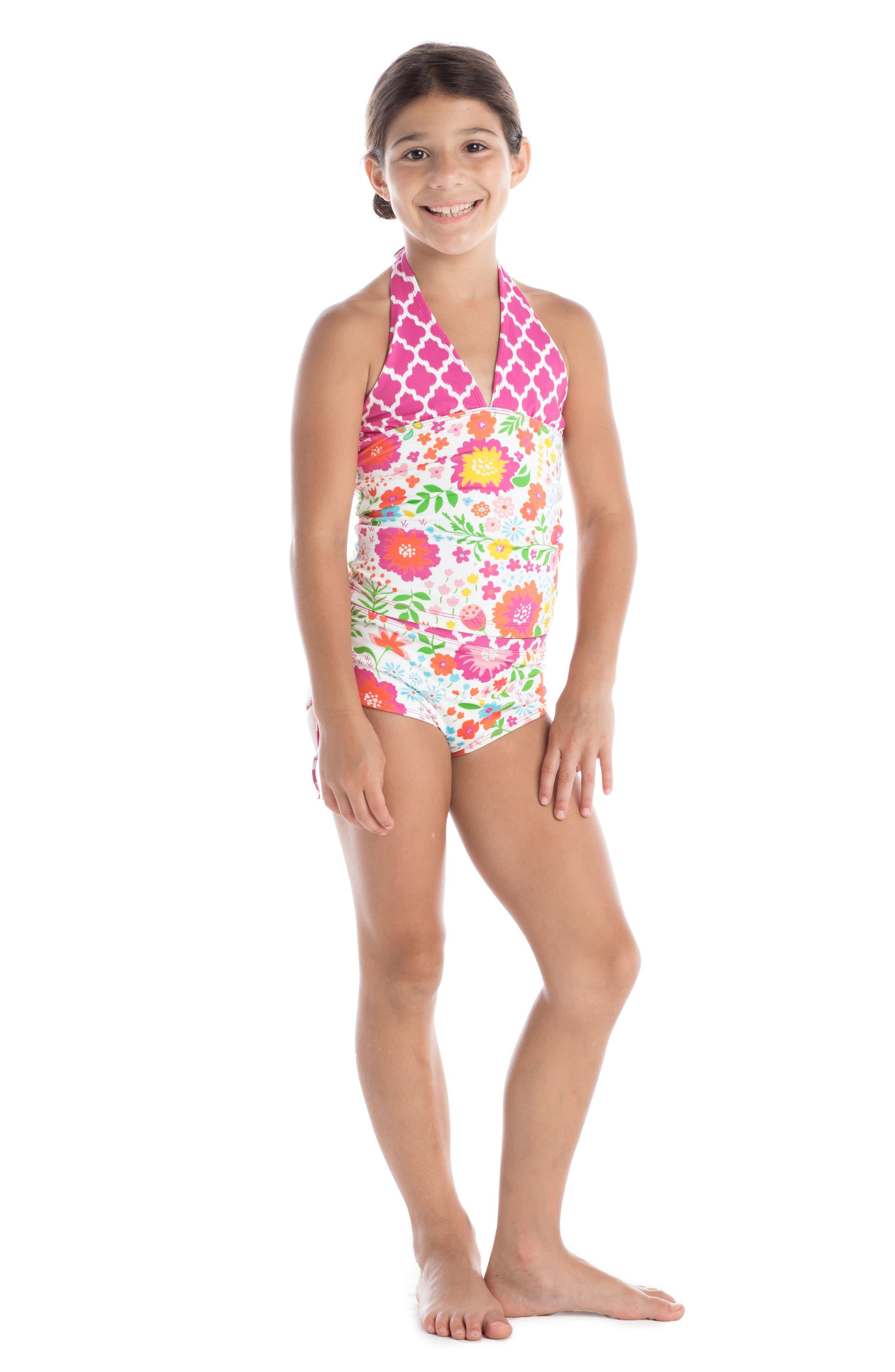 Alternate Image 2  - Masalababy English Garden Two-Piece Tankini Swimsuit (Toddler Girls)