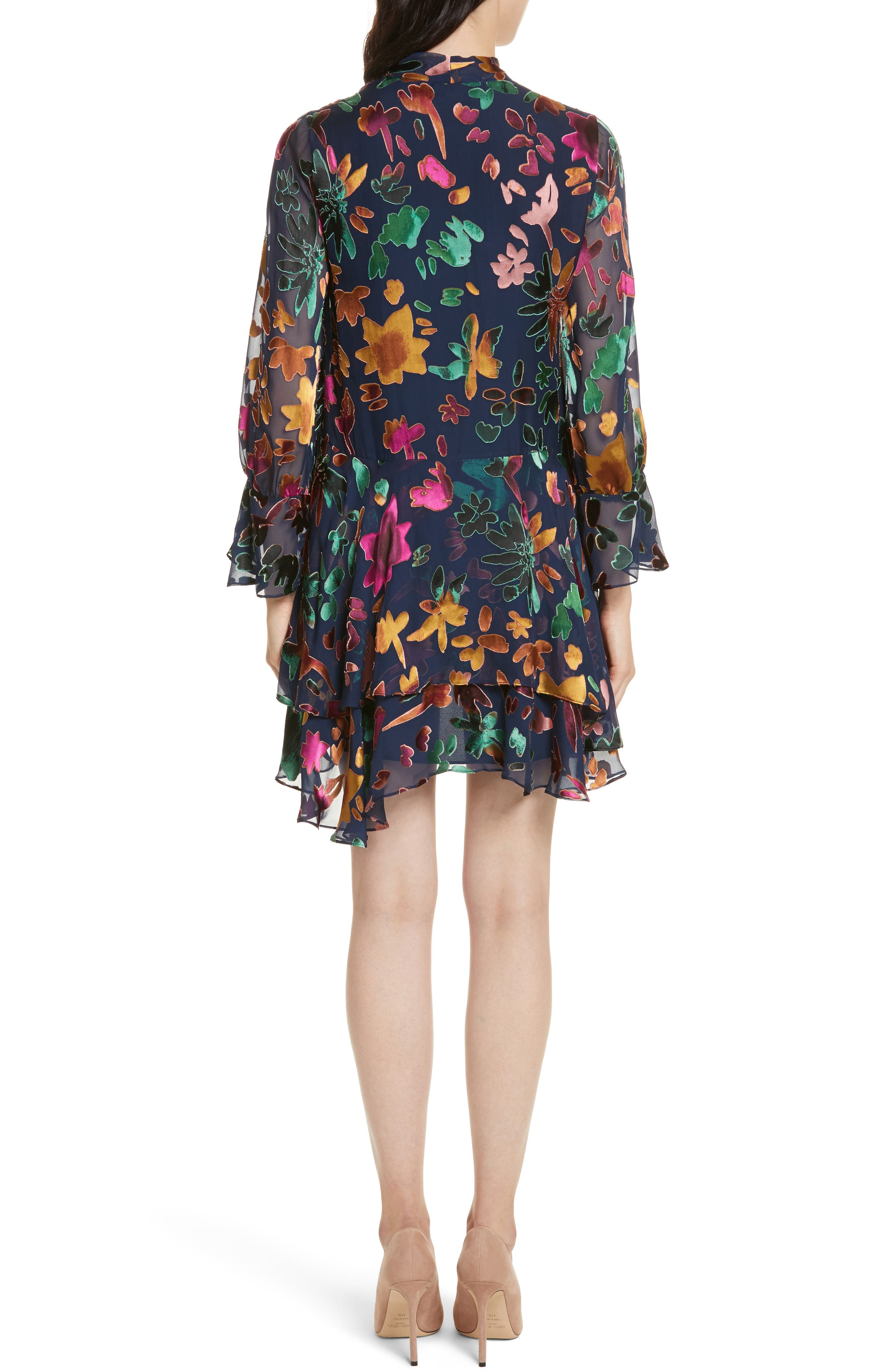Moore Layered Skirt Tunic Dress,                             Alternate thumbnail 2, color,                             Prisma Floral Sapphire