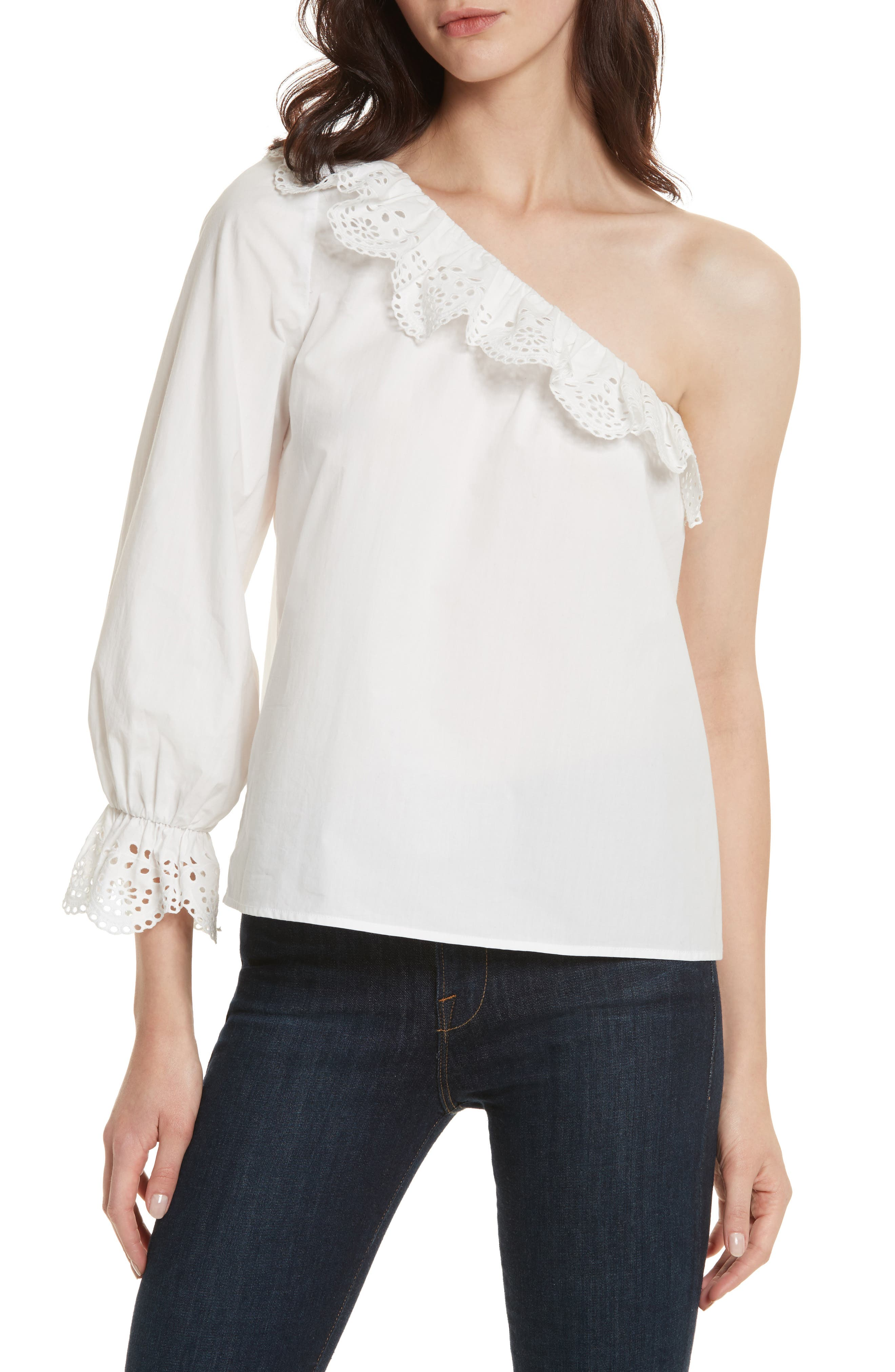 Arianthe One-Shoulder Eyelet Top,                         Main,                         color, Clean White
