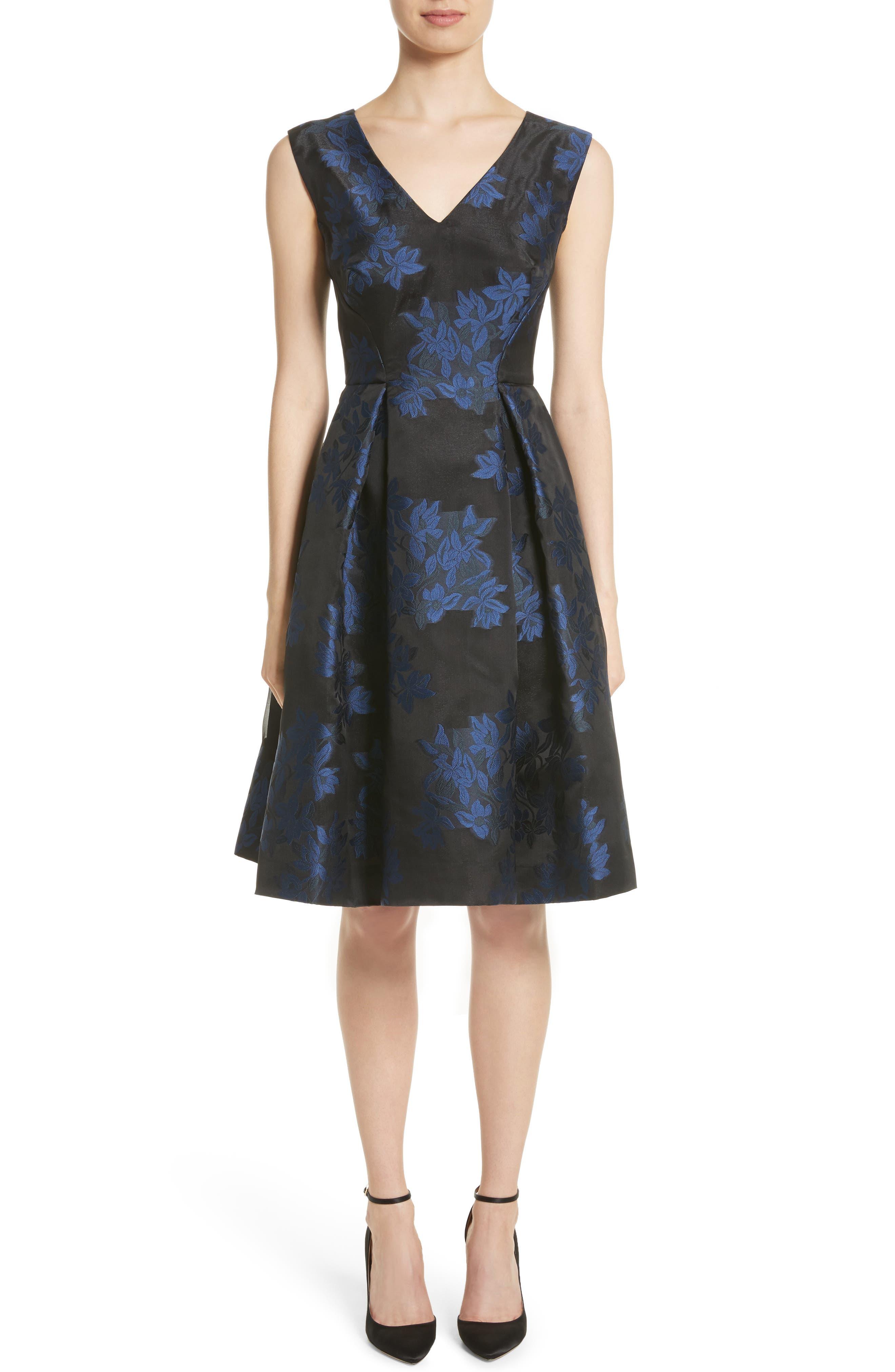 Zac Posen Floral Jacquard Party Dress