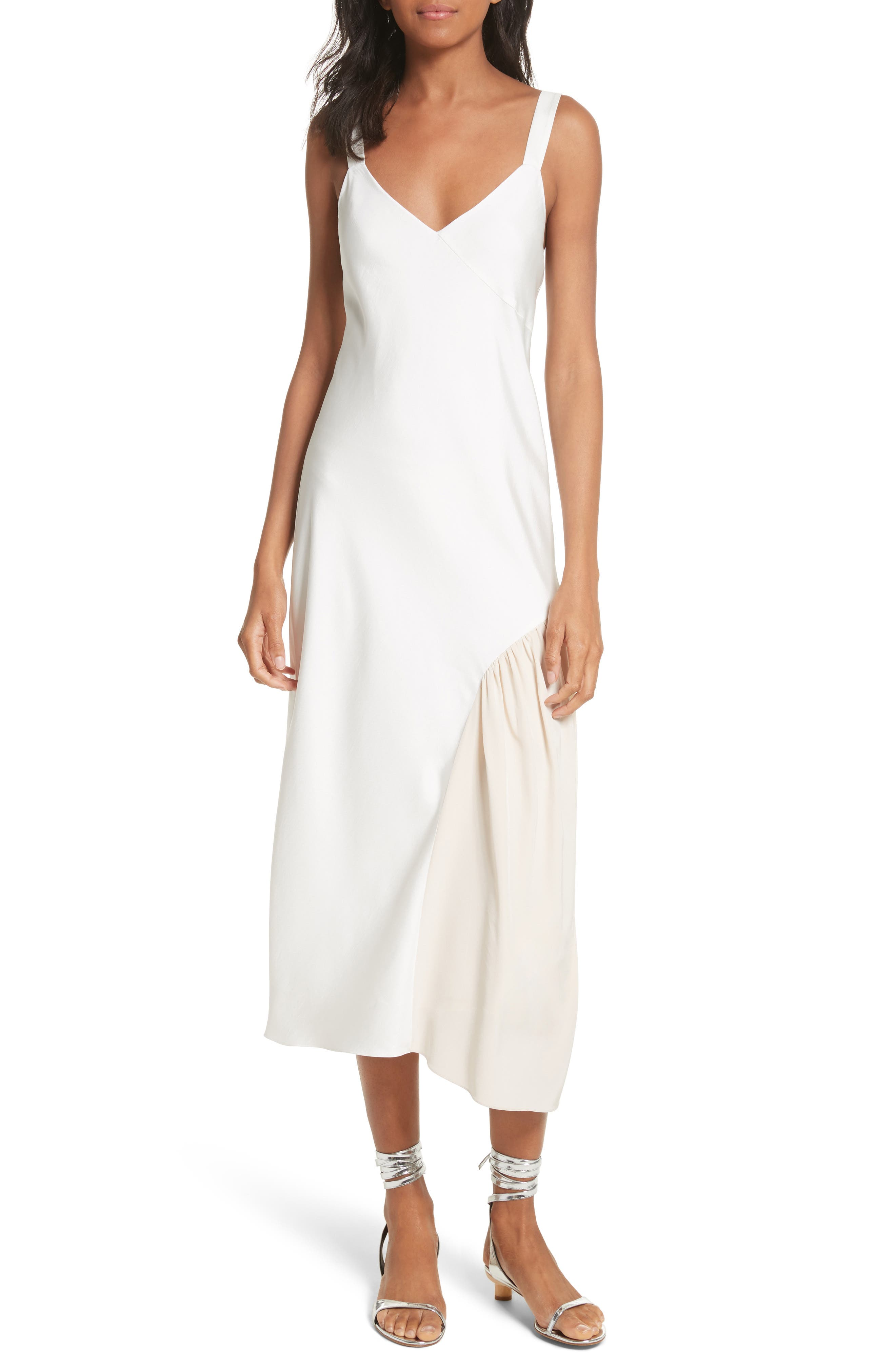 Colorblock Slipdress,                         Main,                         color, Ivory/ Blush Multi