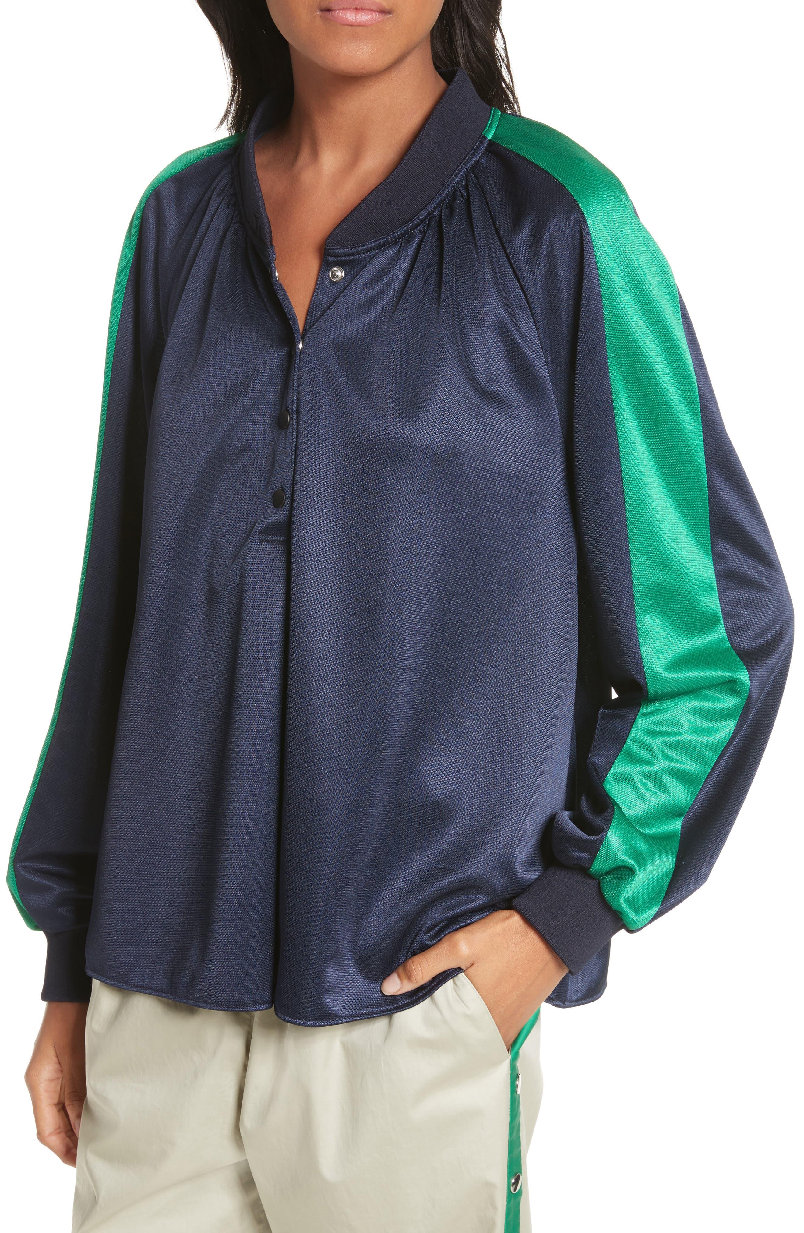 Pullover Track Jacket,                             Alternate thumbnail 4, color,                             Navy/ Green Multi