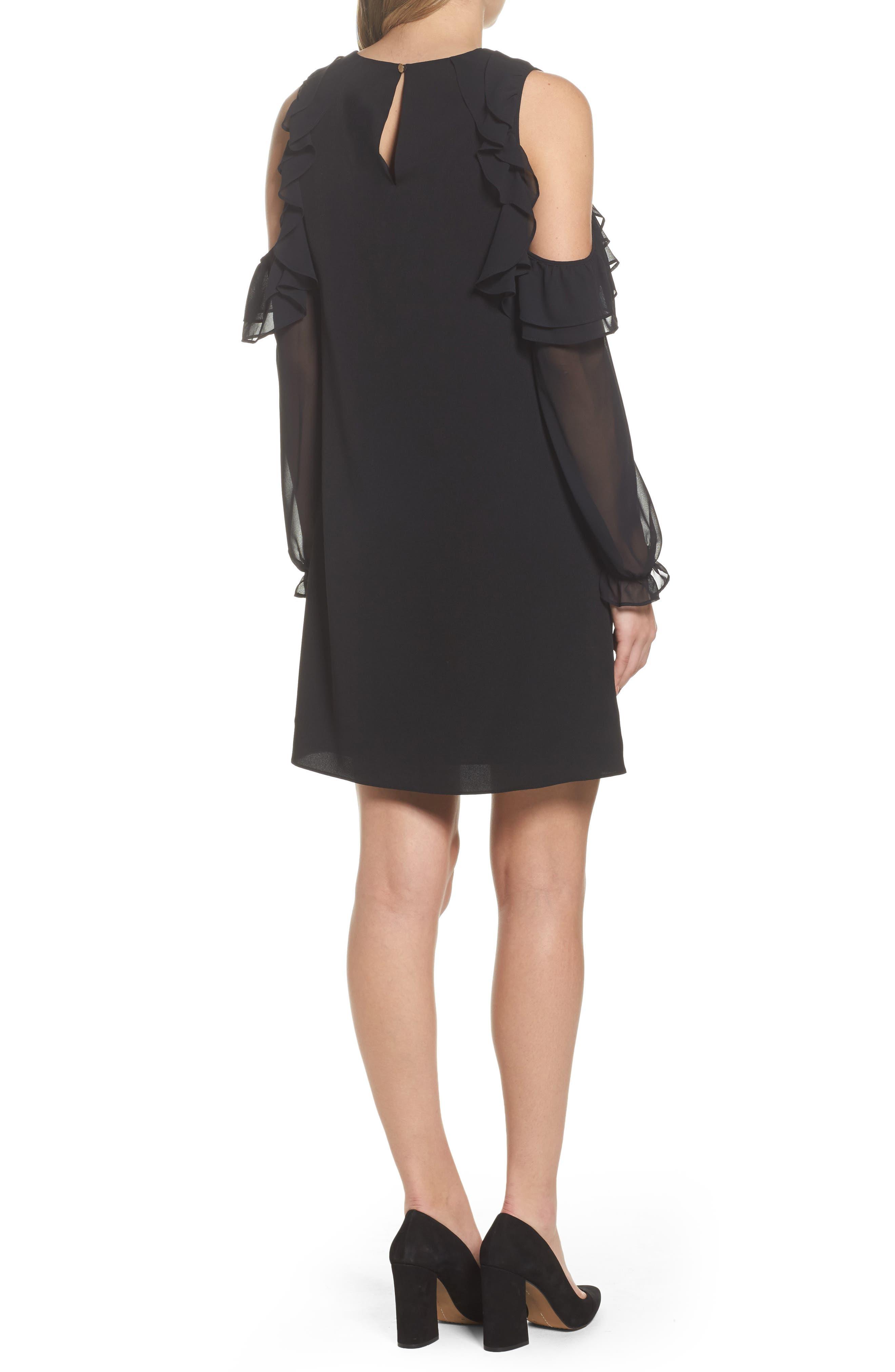 Isabella Cold Shoulder Shift Dress,                             Alternate thumbnail 2, color,                             Rich Black