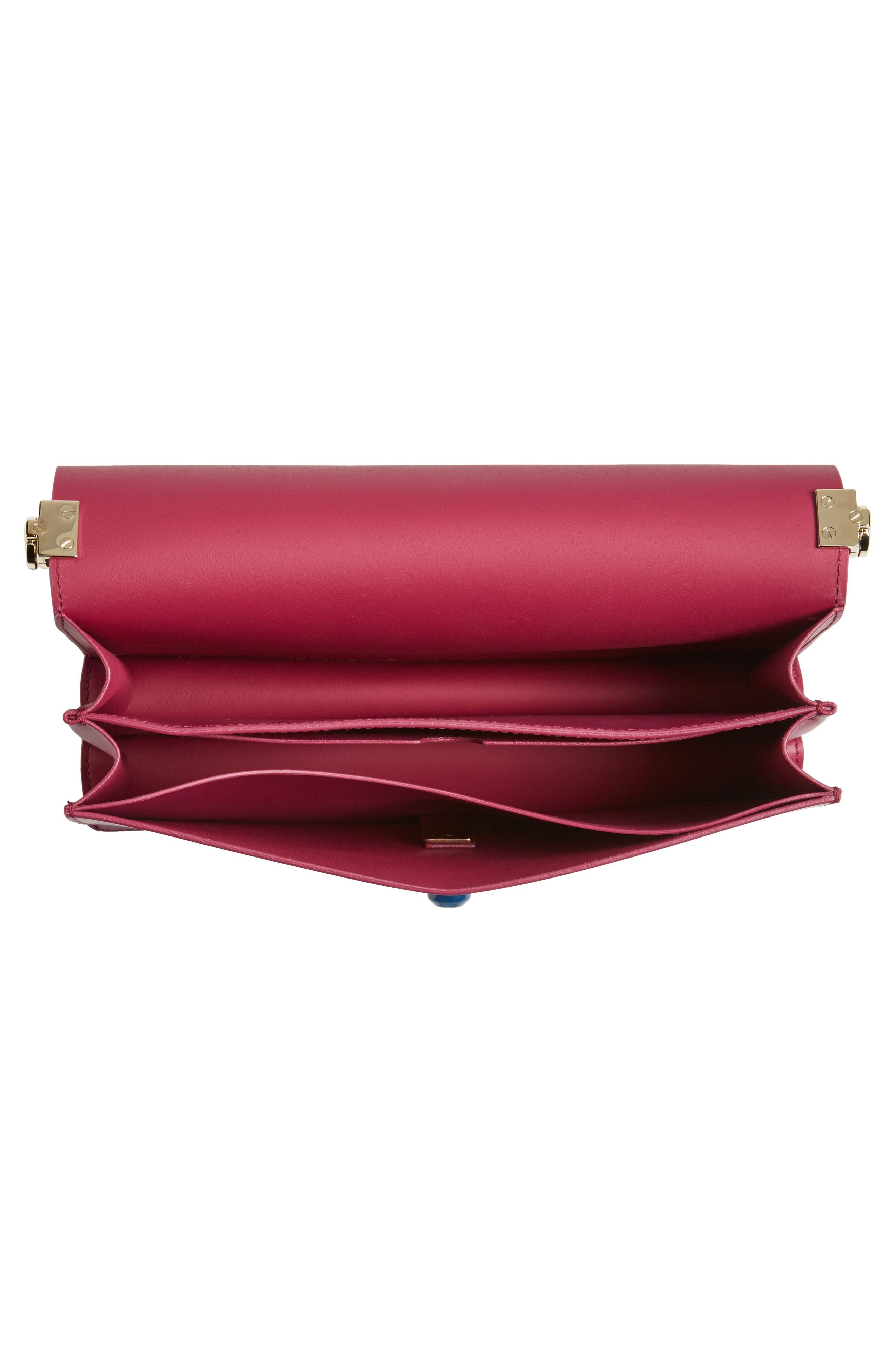 Snap Leather Shoulder Bag,                             Alternate thumbnail 4, color,                             Amarena